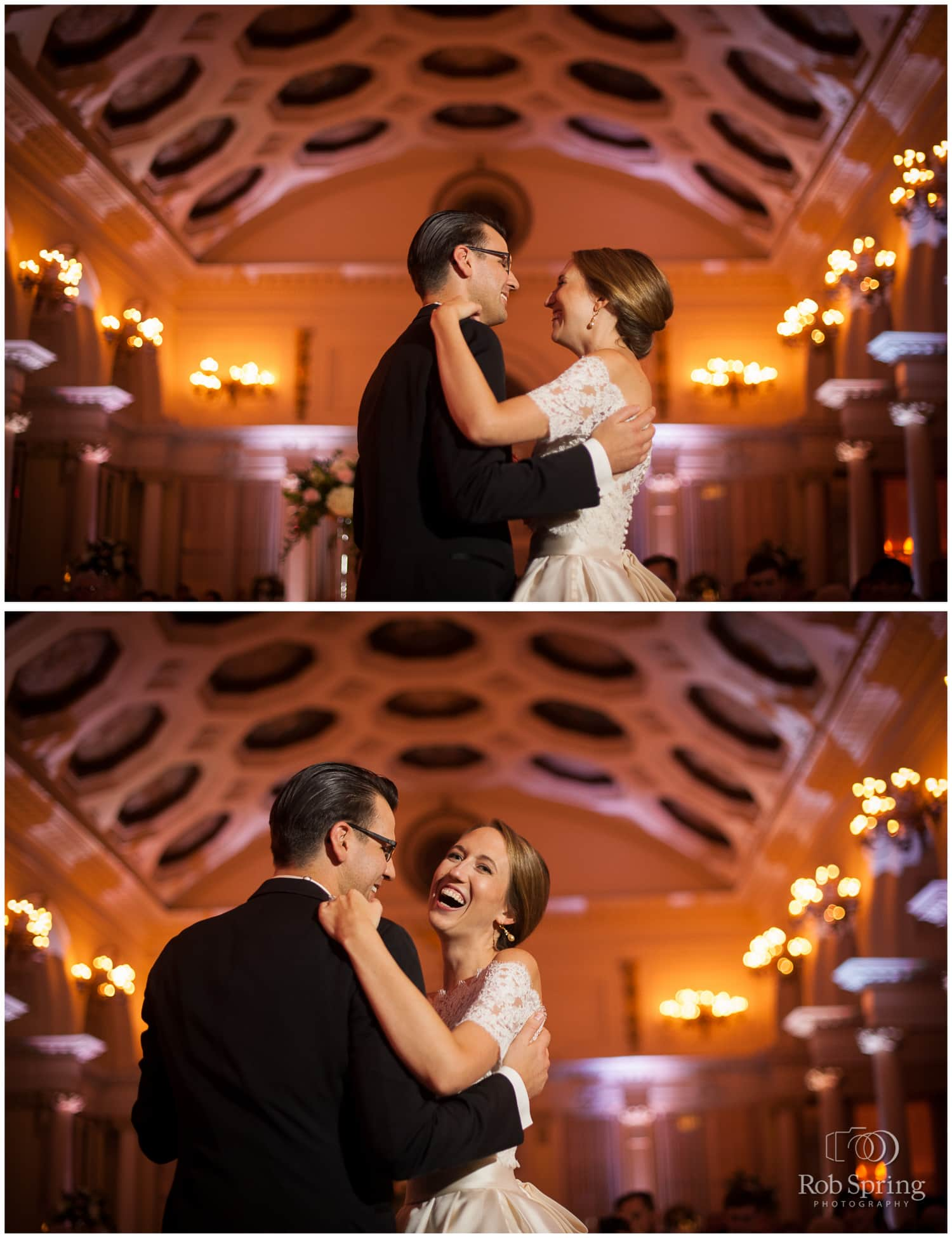Fun laughing happy first dance at the Canfield Casino in Saratoga Springs, NY Wedding photos