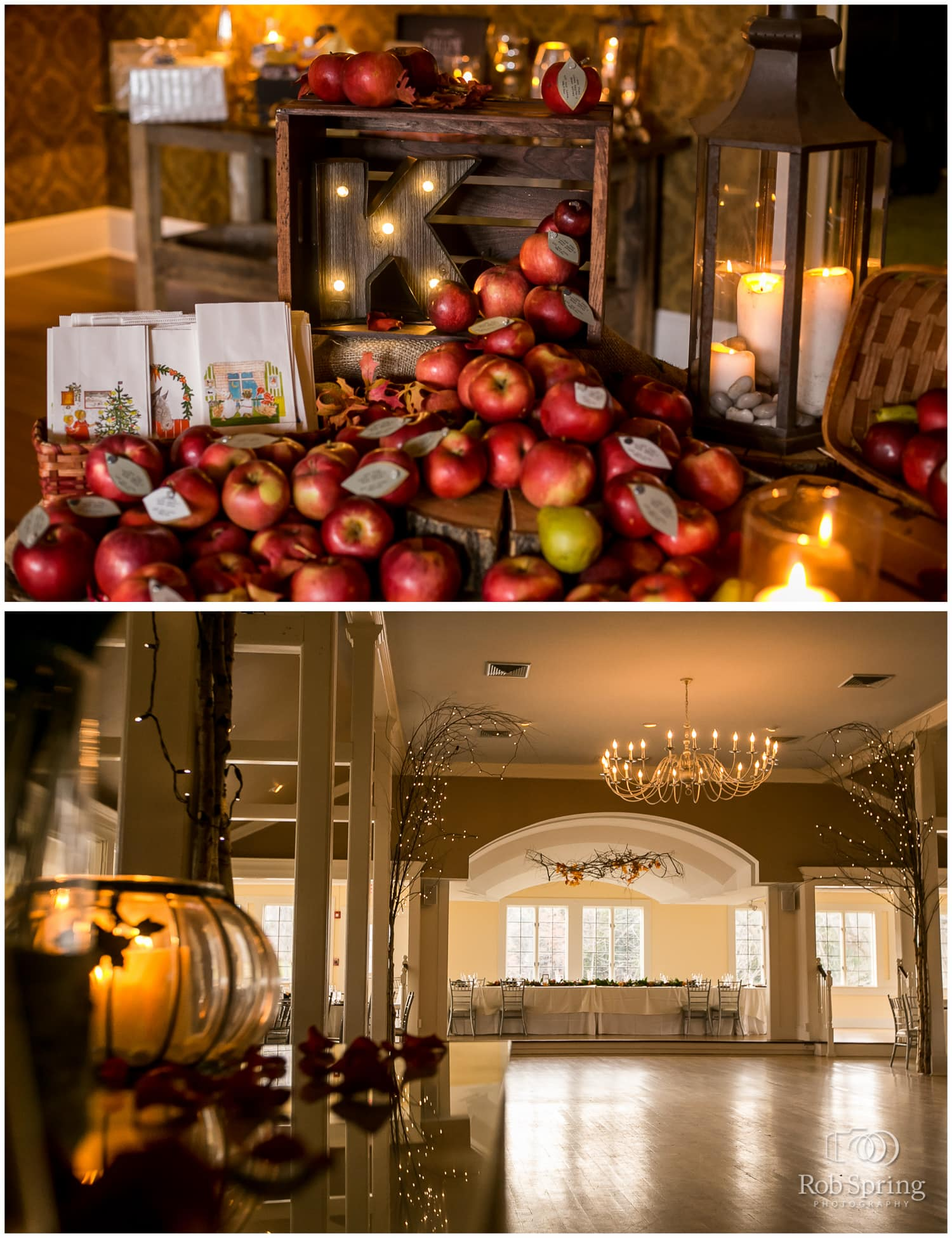 Autumn wedding decorations with apples at Crooked Lake House