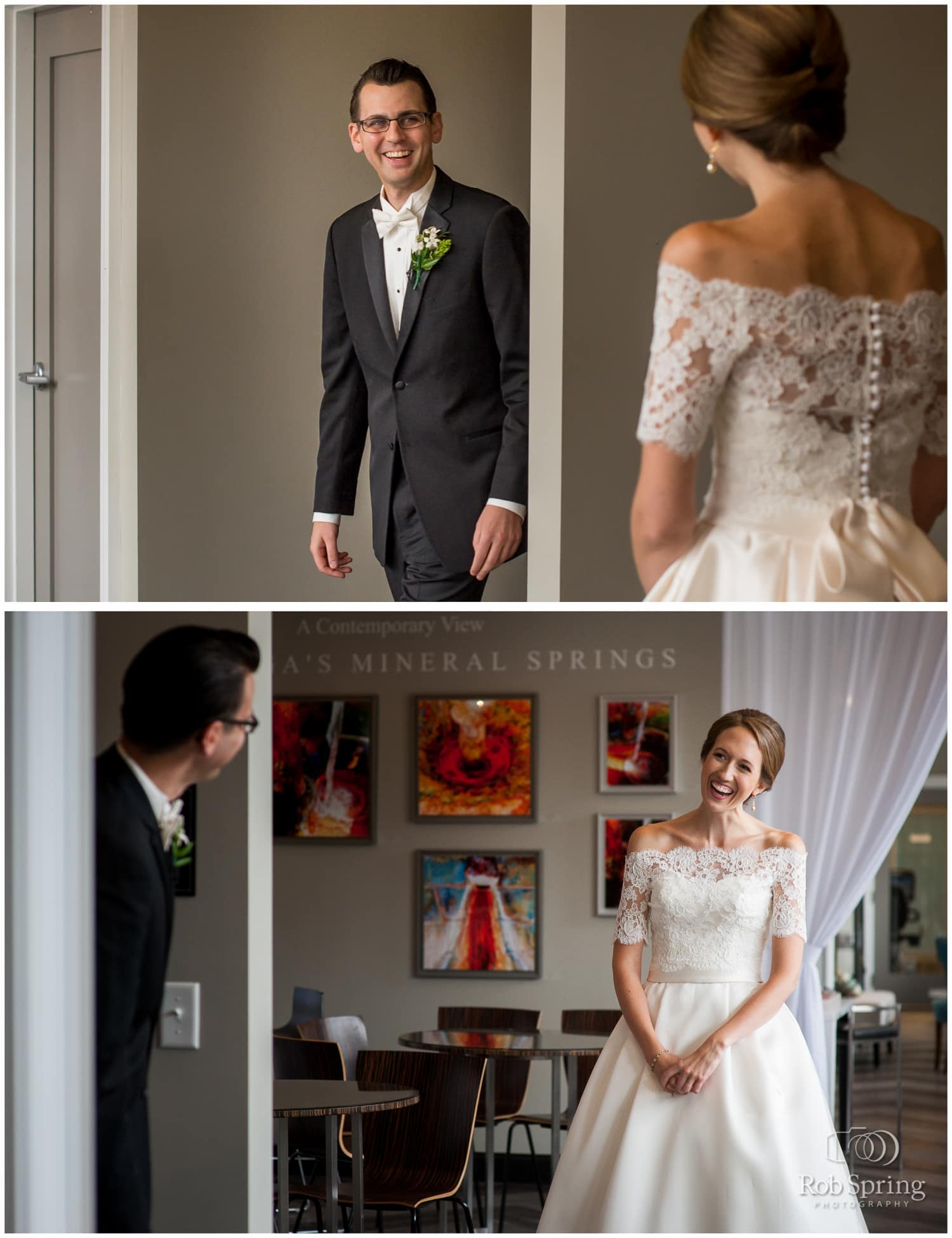 First look with bride and groom, Pavilion Grand Hotel, Saratoga Springs, NY wedding photographer | Canfield Casino wedding