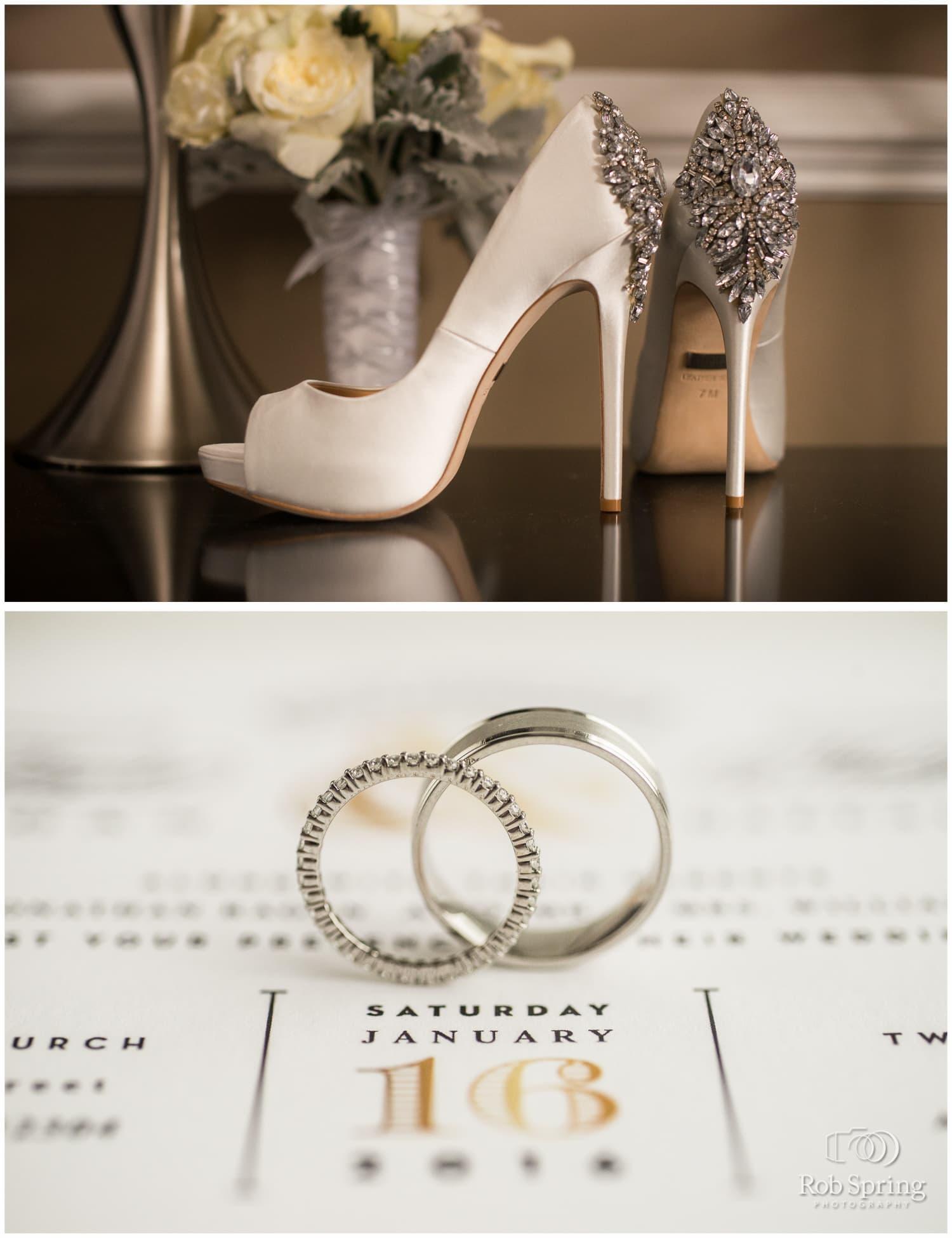 Rings on wedding program | Glen Sanders Mansion Wedding photographer