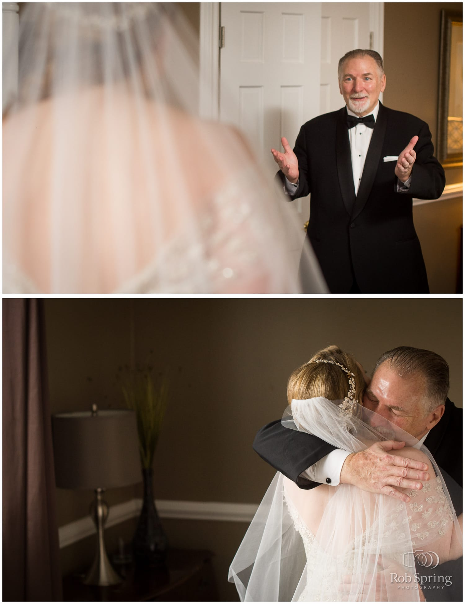 Bride's first look with dad, father | Glen Sanders Mansion Wedding photographer