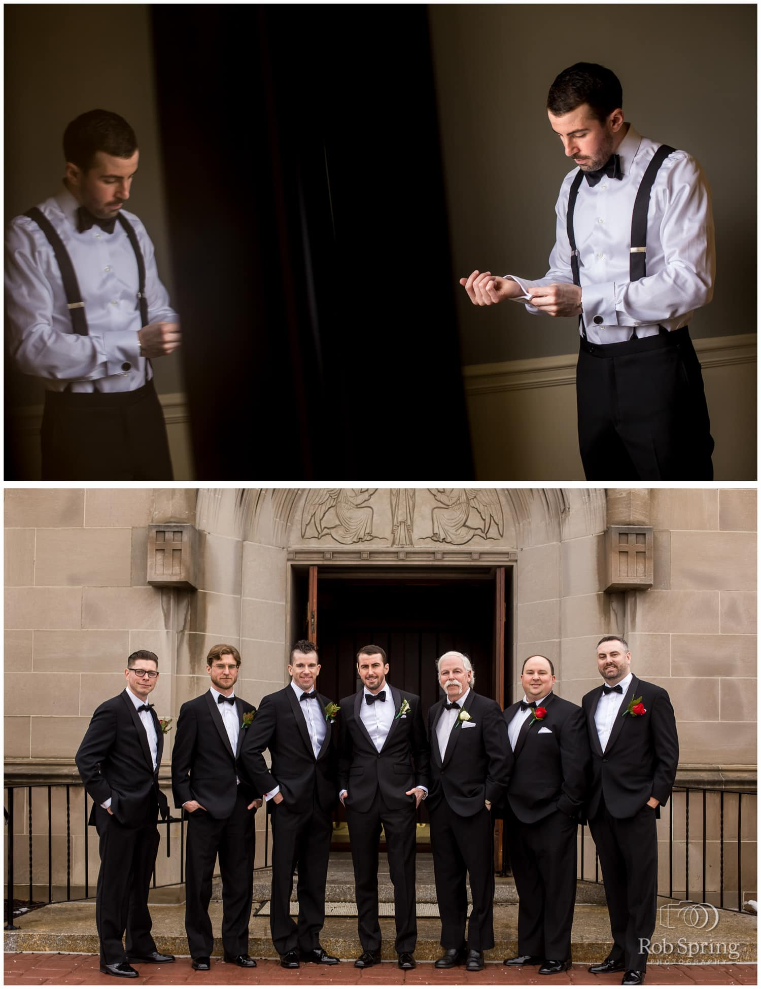Groom getting ready and groomsmen with black tuxes | Glen Sanders Mansion Wedding photographer