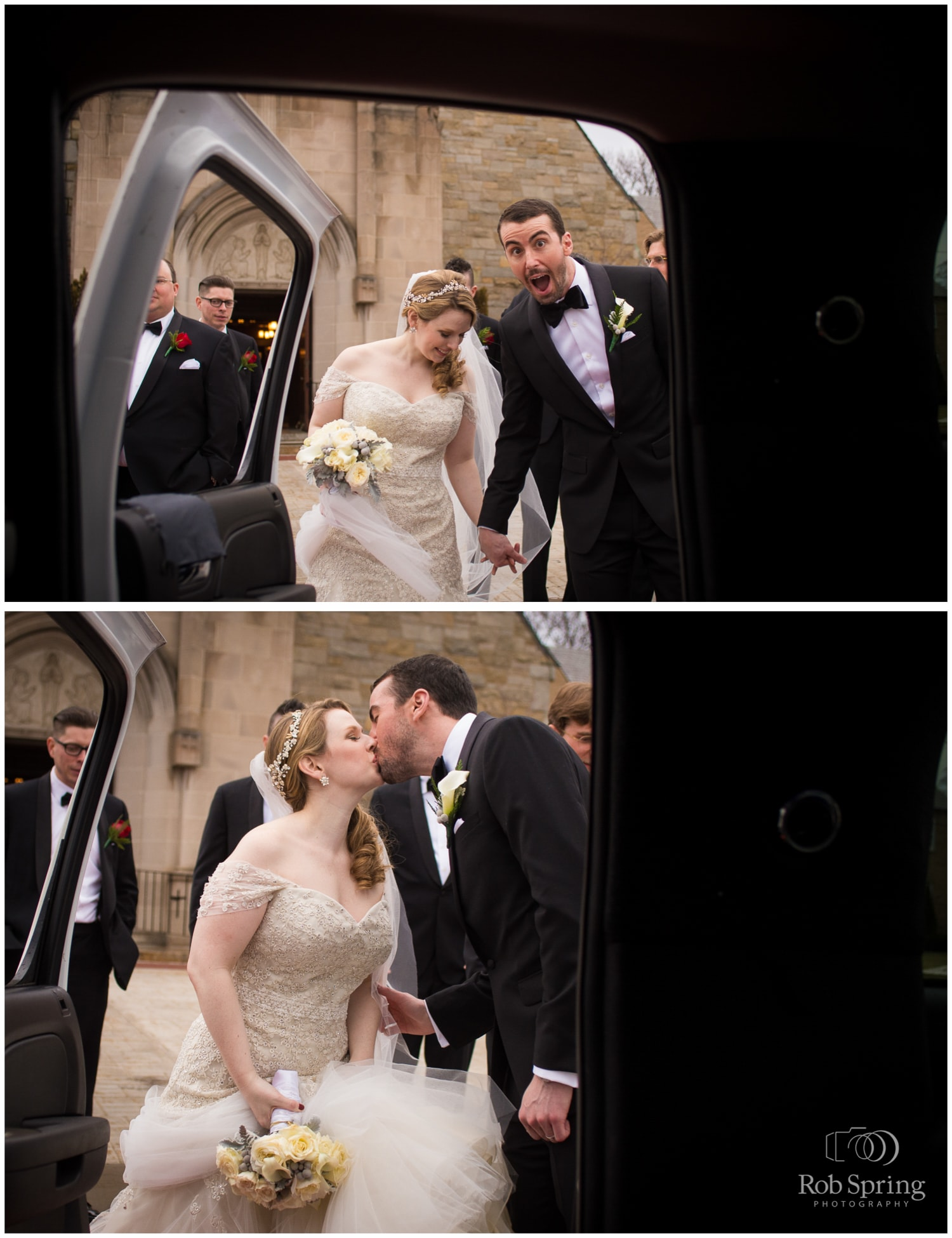 Funny groom getting in limo after church wedding | Glen Sanders Mansion Wedding photographer