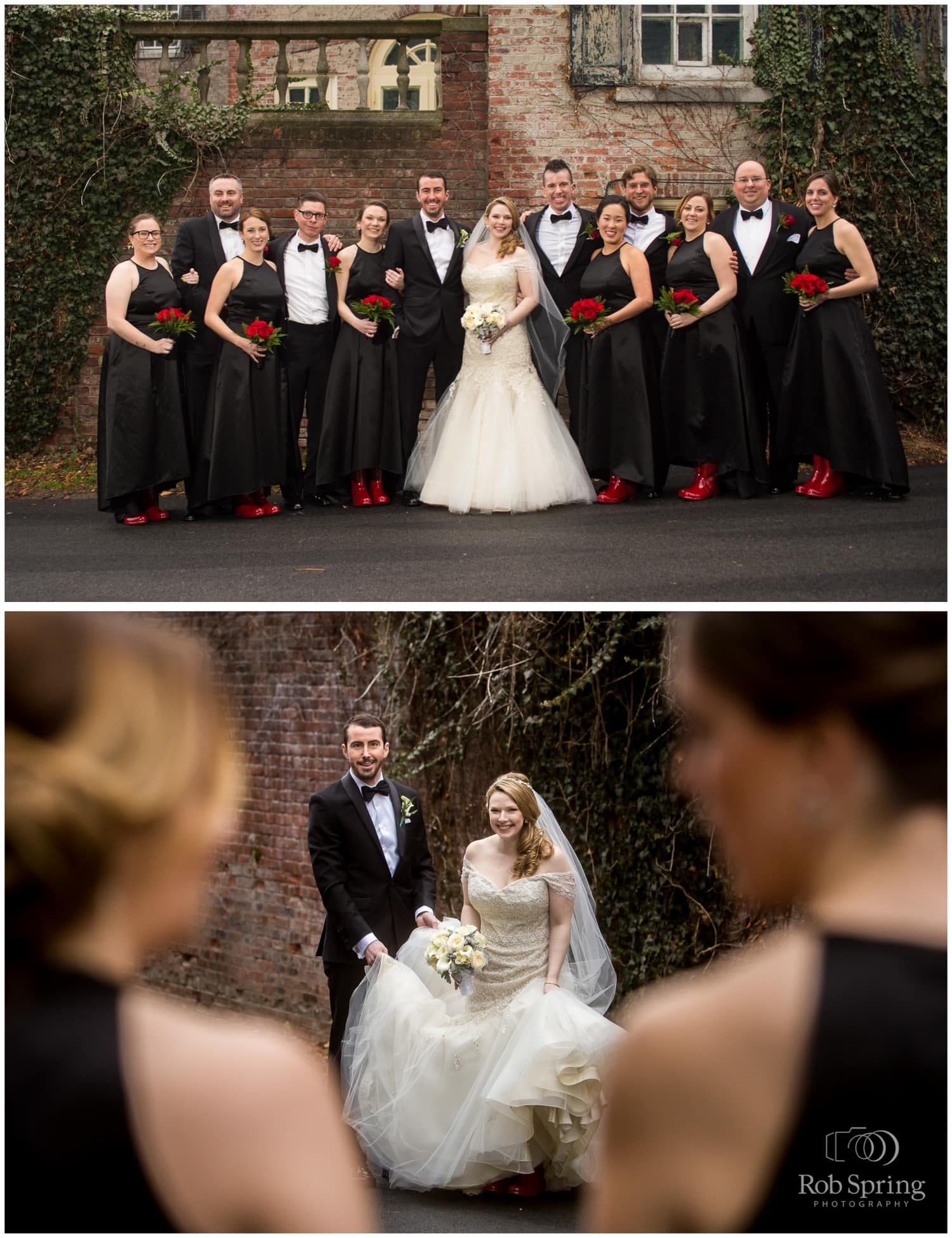 red uggs boots bridal party, red flowers, black bridesmaids dresses, winter Glen Sanders Mansion Wedding photographer