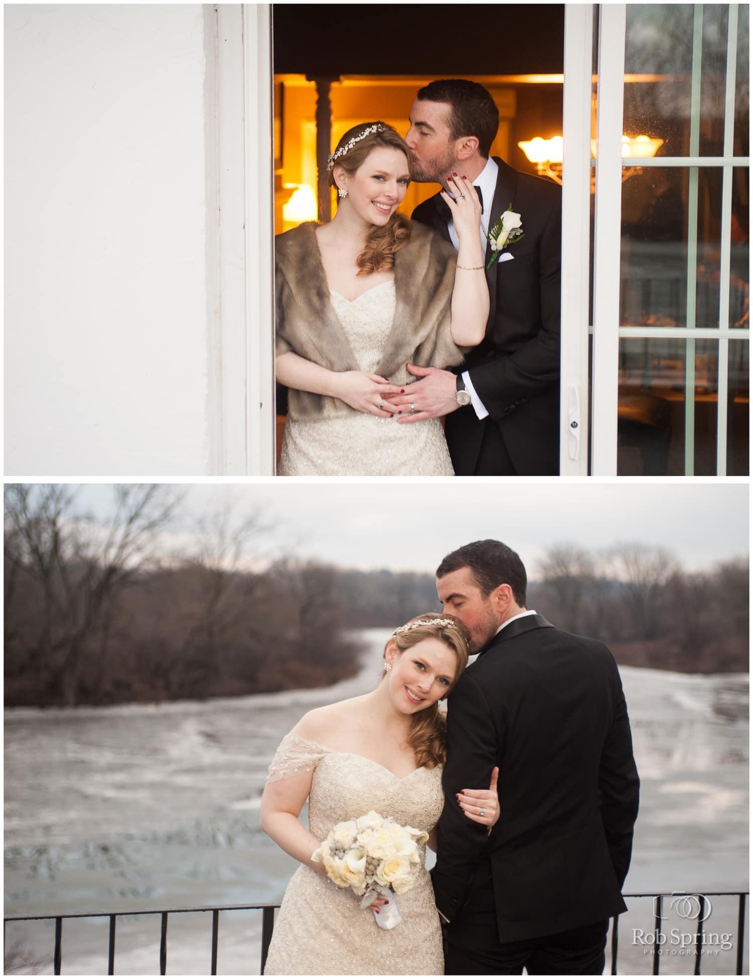 groom kissing bride at Glen Sanders Mansion
