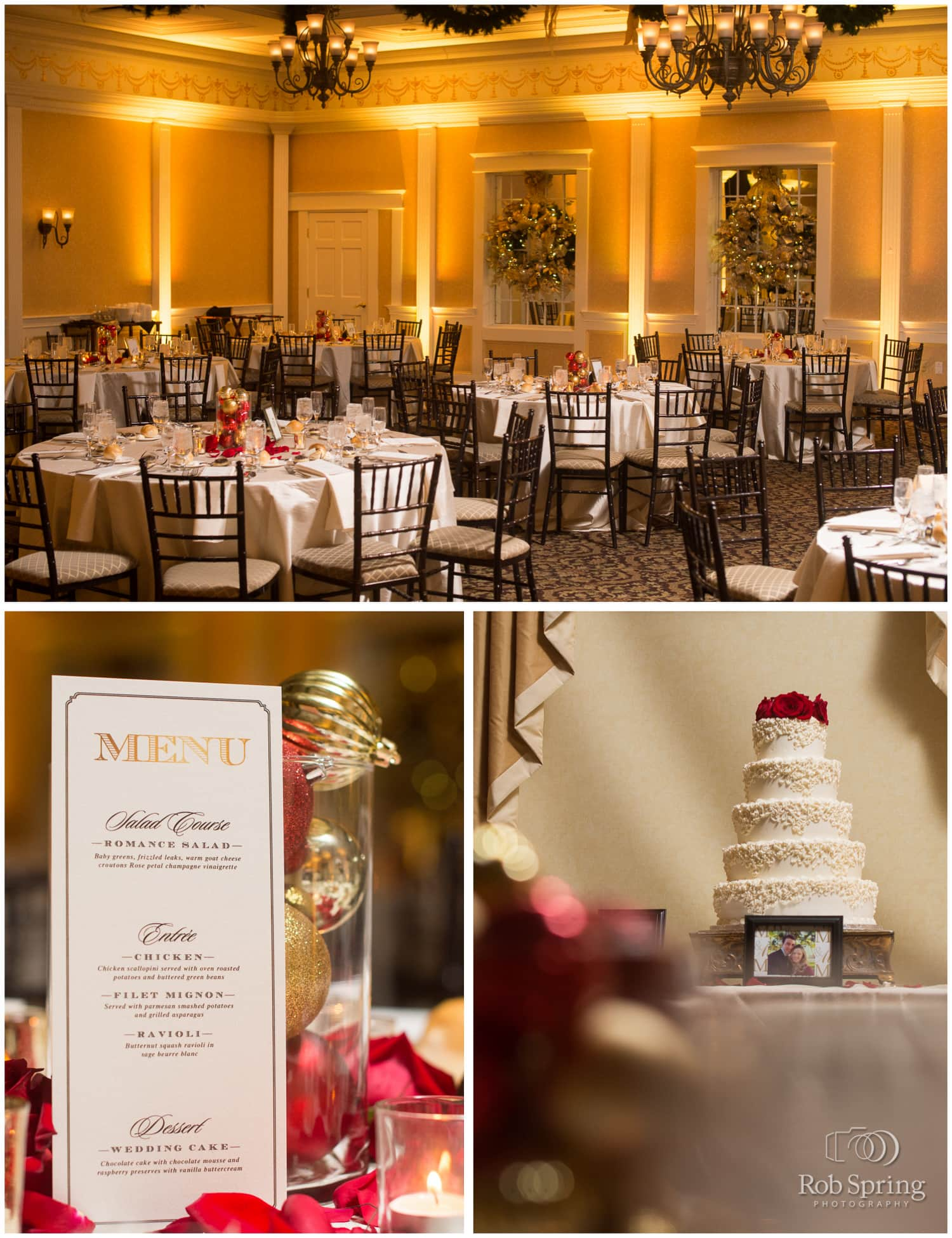 beautiful reception details at Glen Sanders Mansion Wedding, red, Christmas