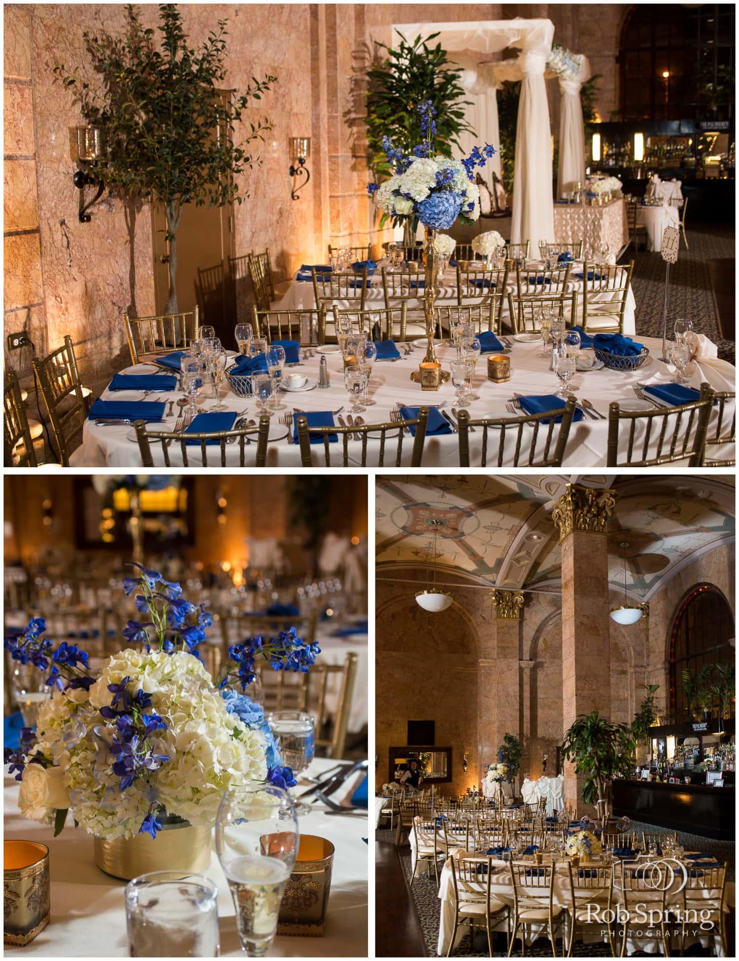 Winter blue wedding decor, Albany State Room Wedding