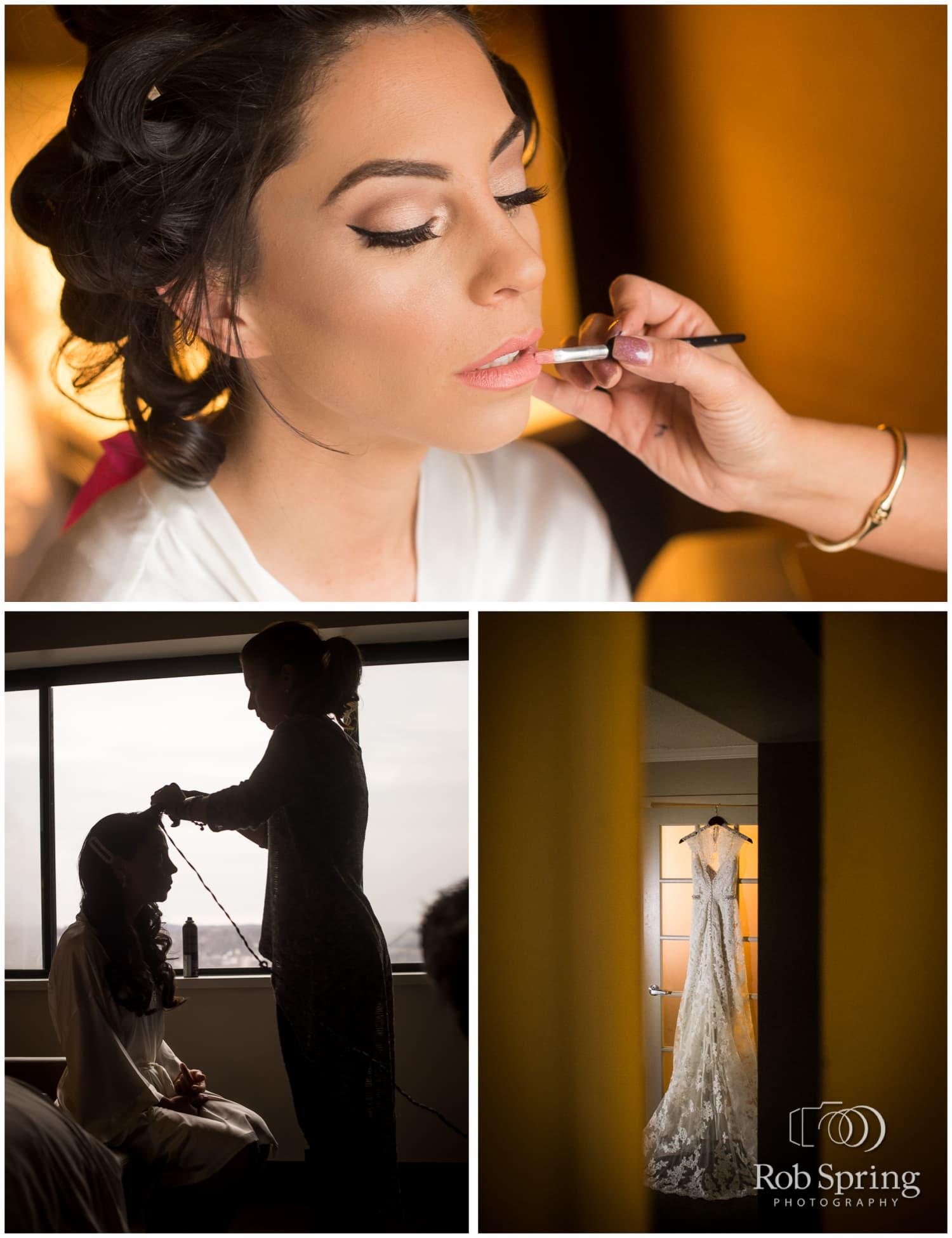 Bride getting makeup at Albany Hilton, bridal prep, Albany State Room Wedding