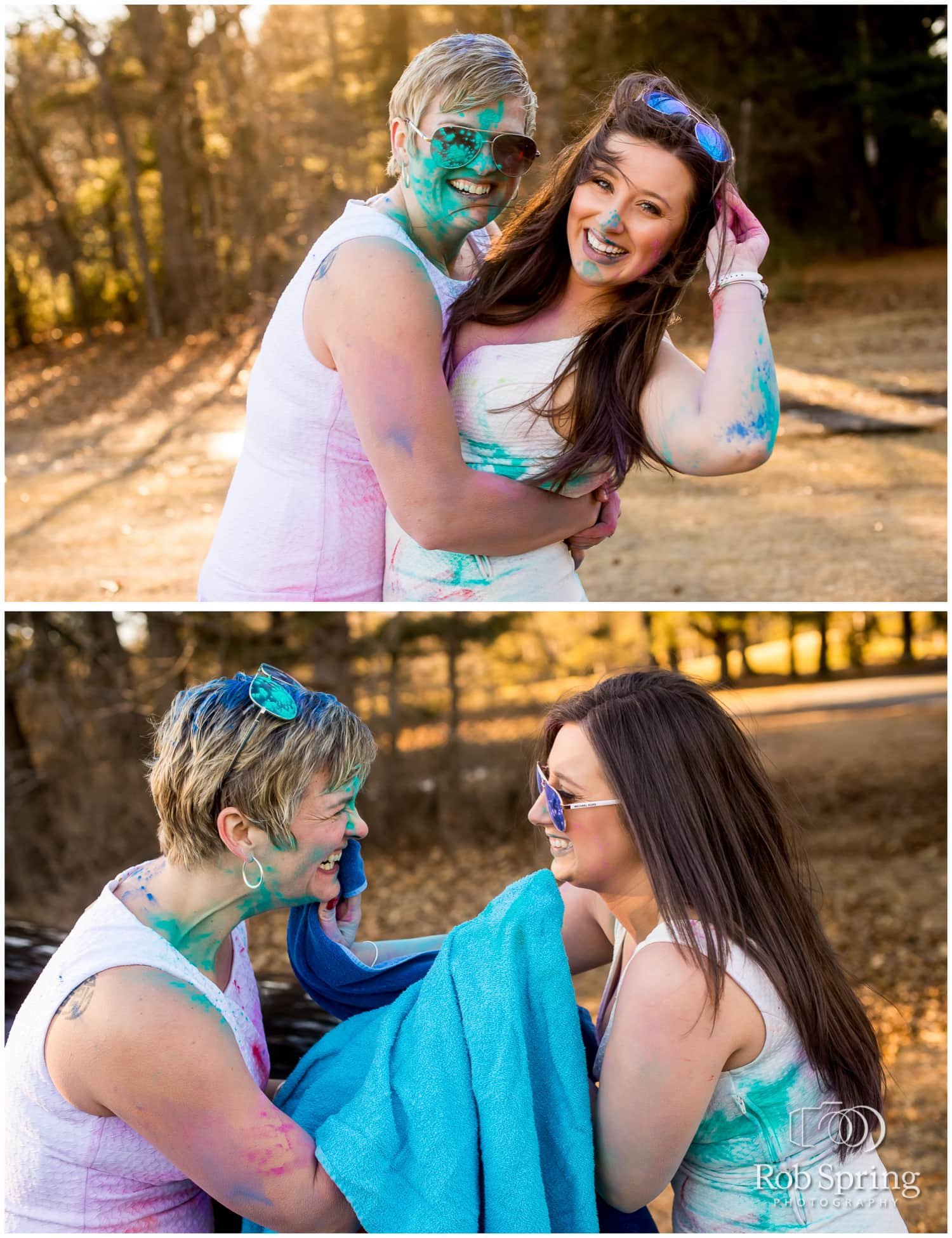Lesbian couple throws powdered paint on white dresses during engagement session