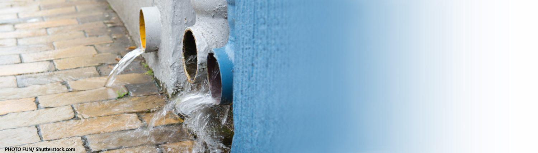 Regenwasser, Abfluss, Abfließen, Überlaufen