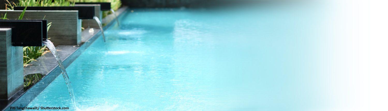 Becken, schwimmen, Garten, Wasserfall