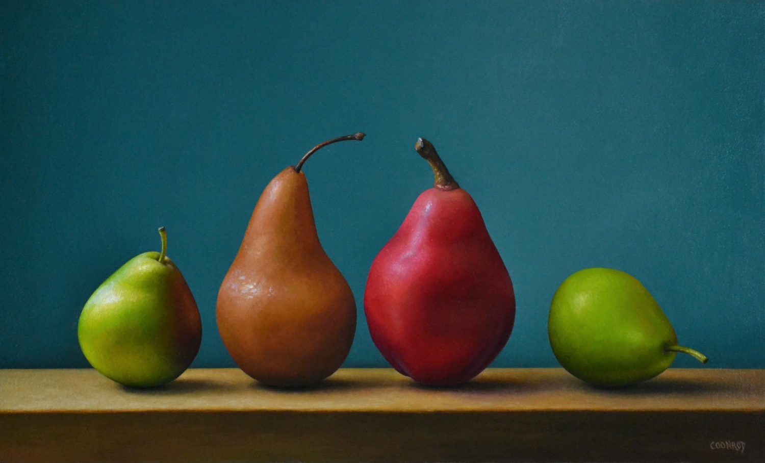 4 Pears in Daylight 12″ x 20″ sold