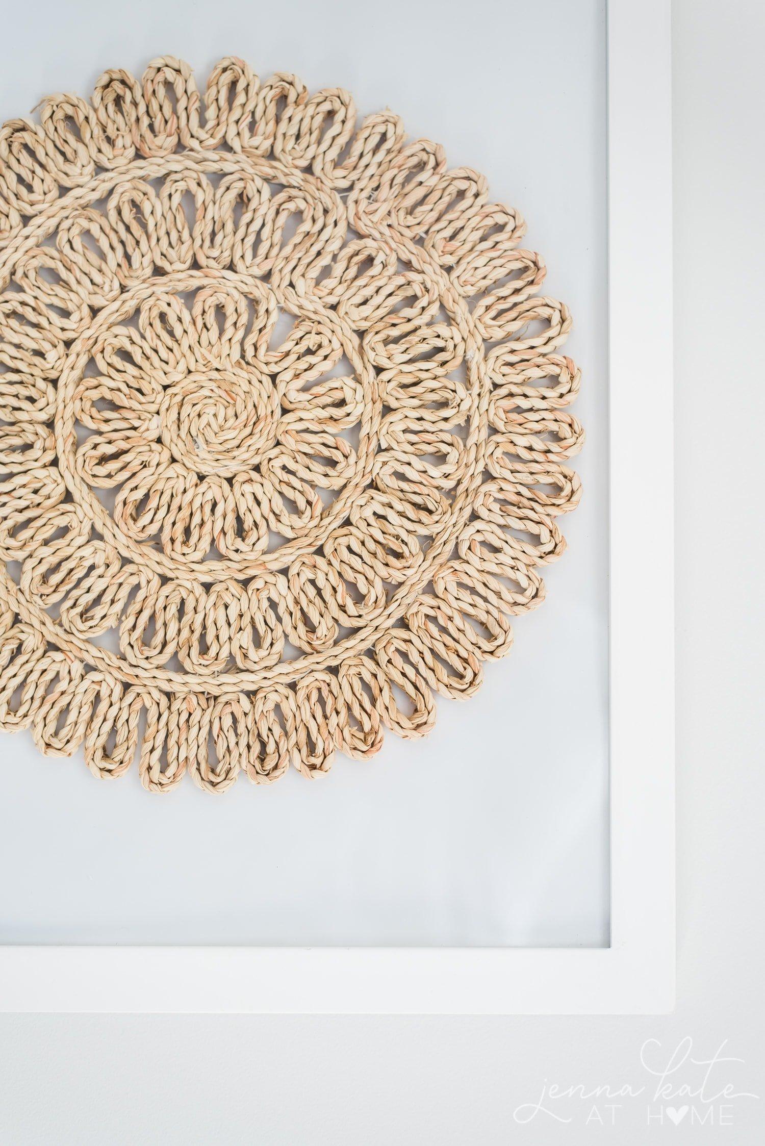 Up close texture of framed rattan place mat