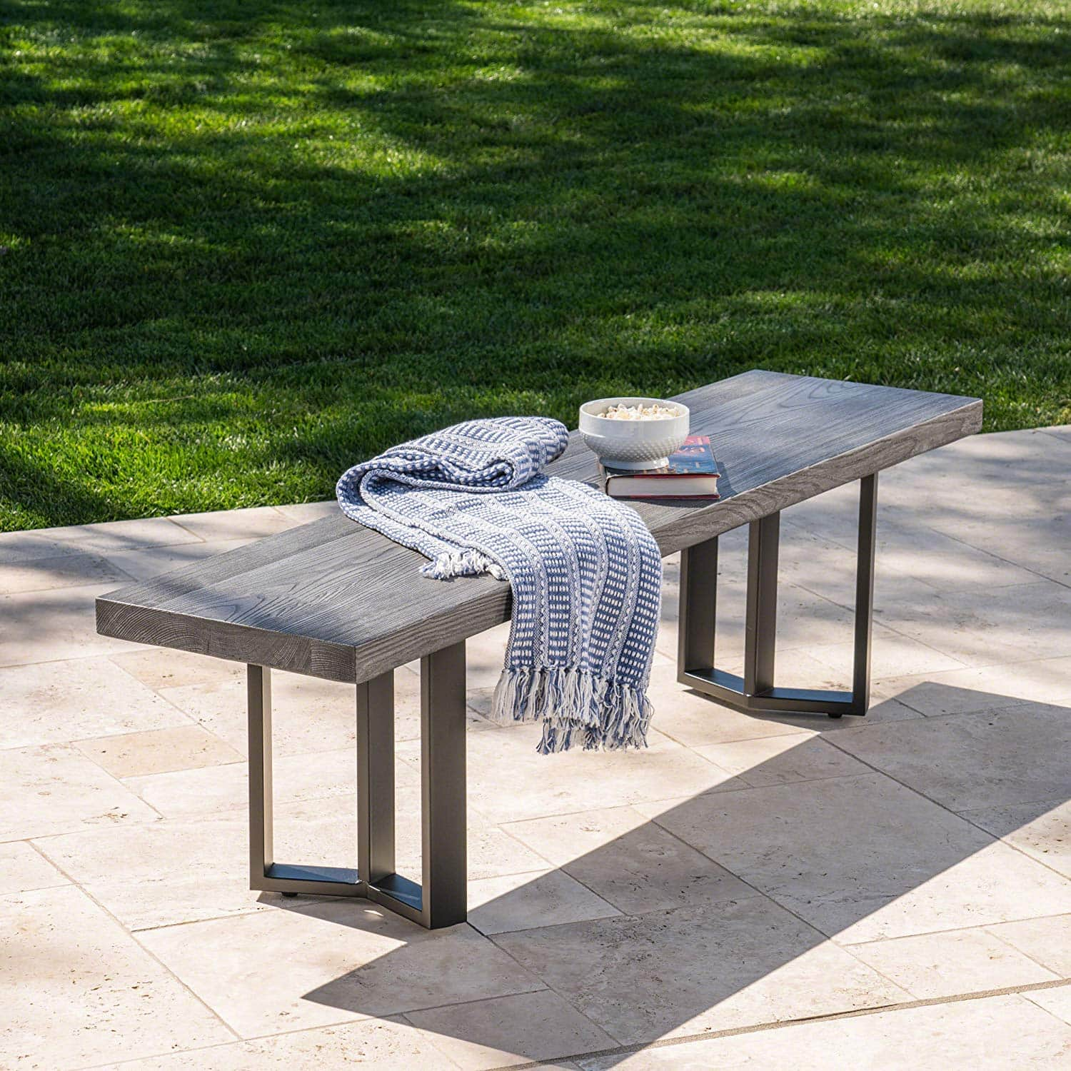 Another Beautiful Concrete And Metal Bench By Great Deal Furniture, The  Andre Textured Light Weight Concrete Bench Is A ...