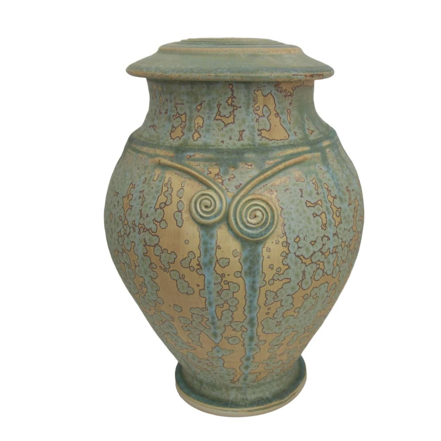 Tall green and sand colored Celtic cremation Urn with a double celtic spiral o the Neck of the Urn sometimes called a torc.
