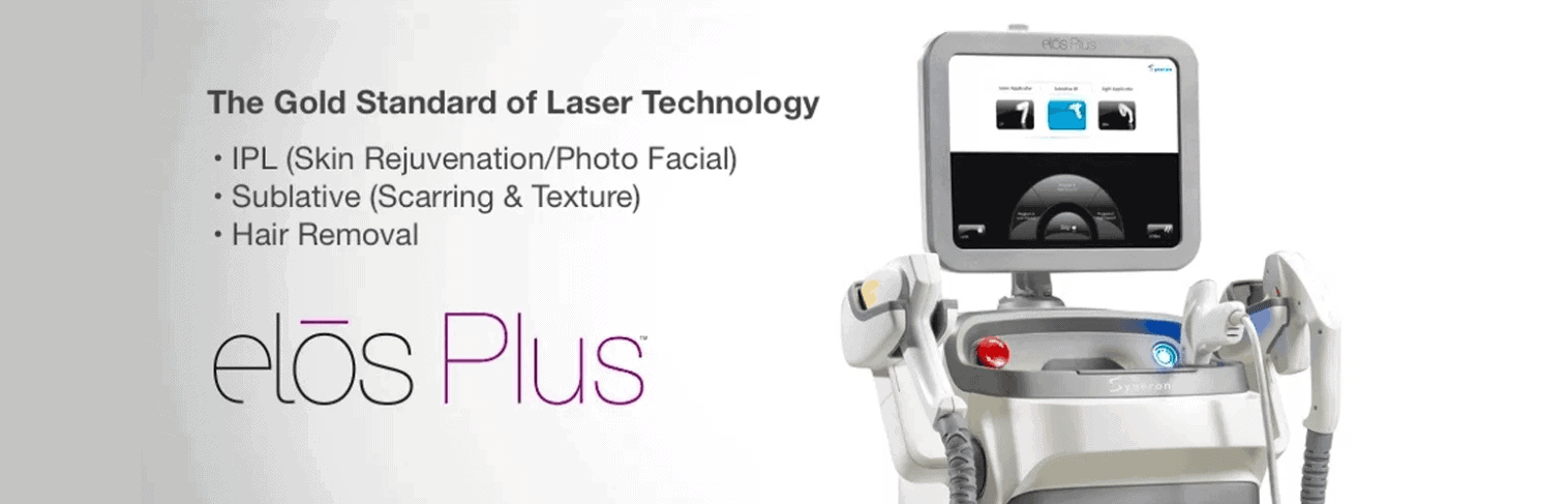 Elos Plus Laser Treatment Machine for Laser Hair Removal, Acne, Scars and Sun Damaged Skin. Now available at Gemini Plastic Surgery in Rancho Cucamonga.