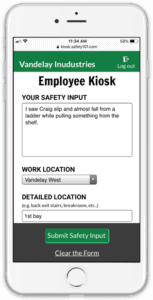 Access the Safety 101 employee safety kiosk from a phone web browser to submit safety input