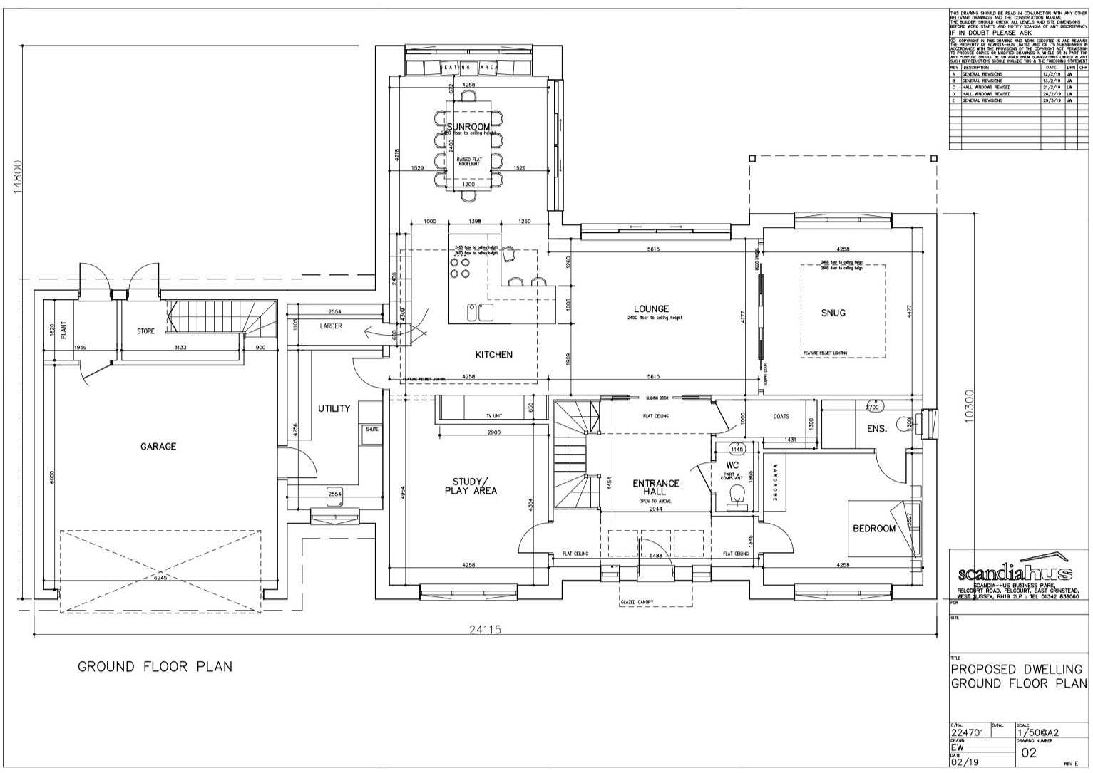 Floor plans of Scandia Hus new build to help plan air conditioning with SubCool FM