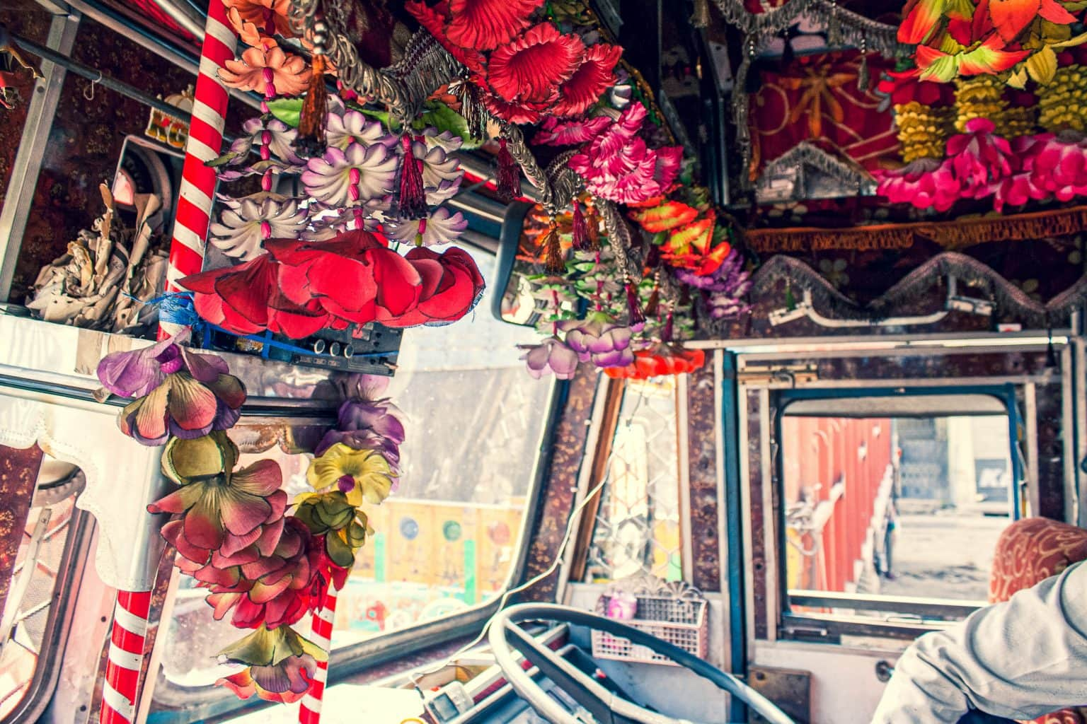 Image: The inside of a truck cab decorated with flowers