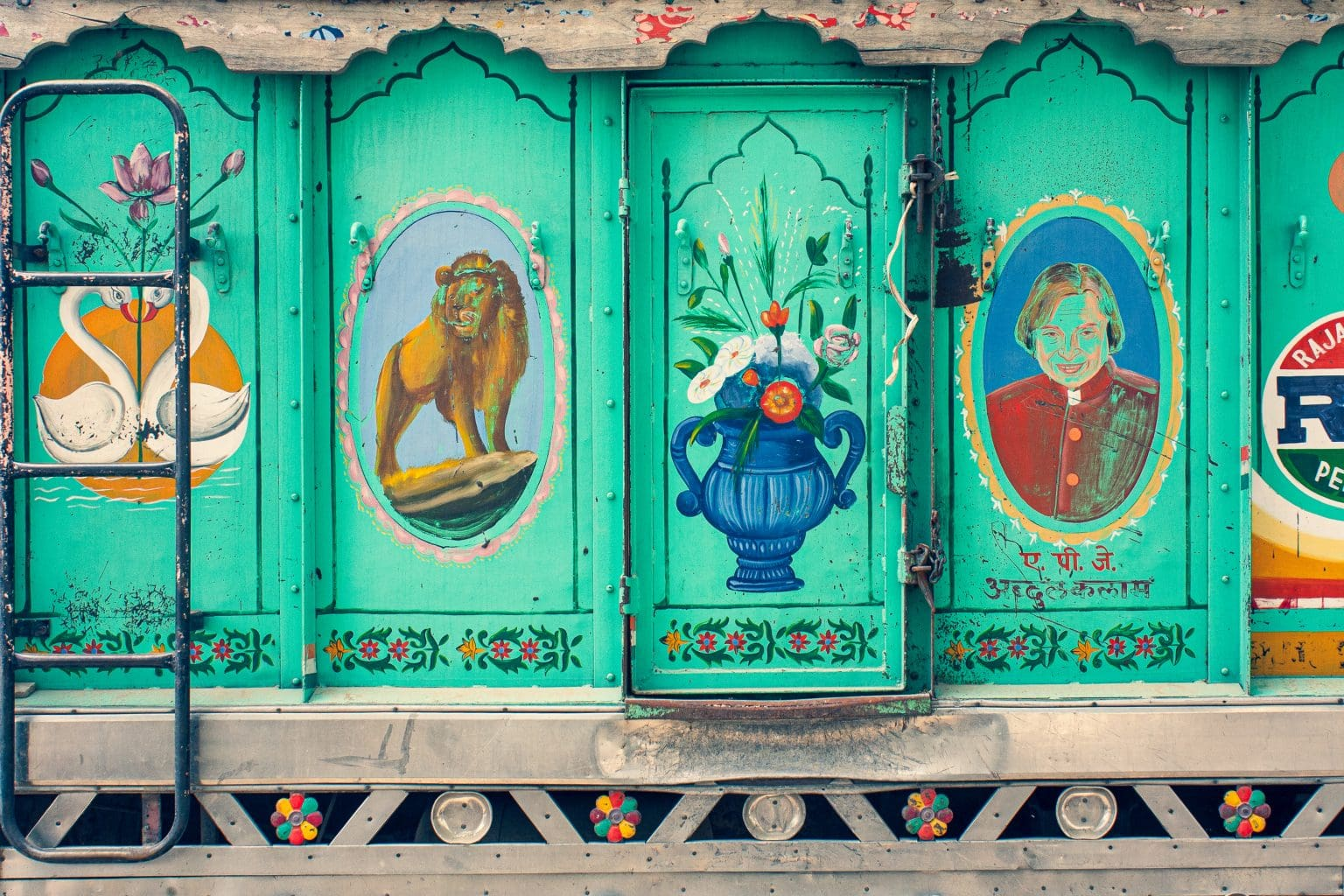 Image: The painted side panels of a truck