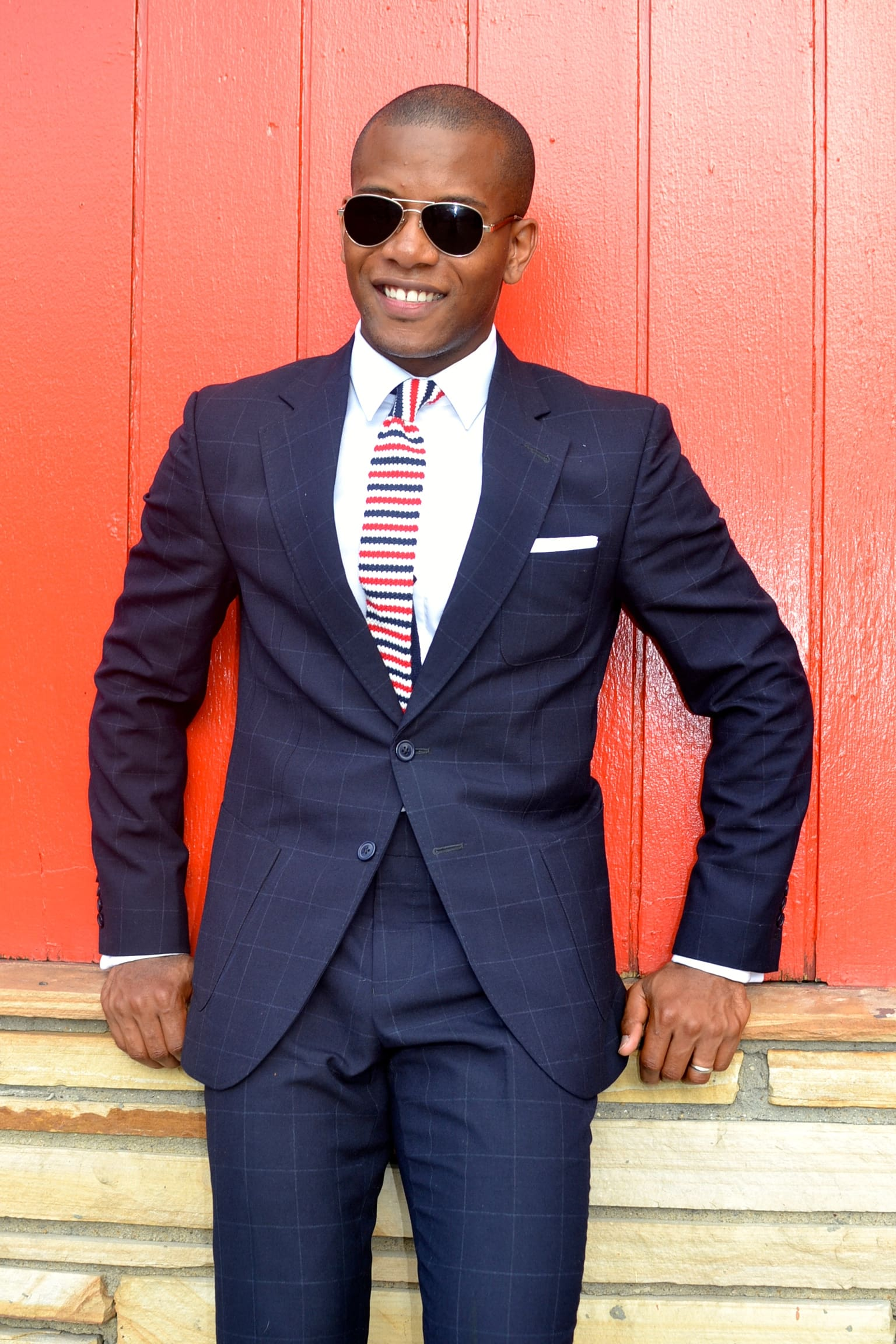 Brimble & Clark Navy Windowpane Suit
