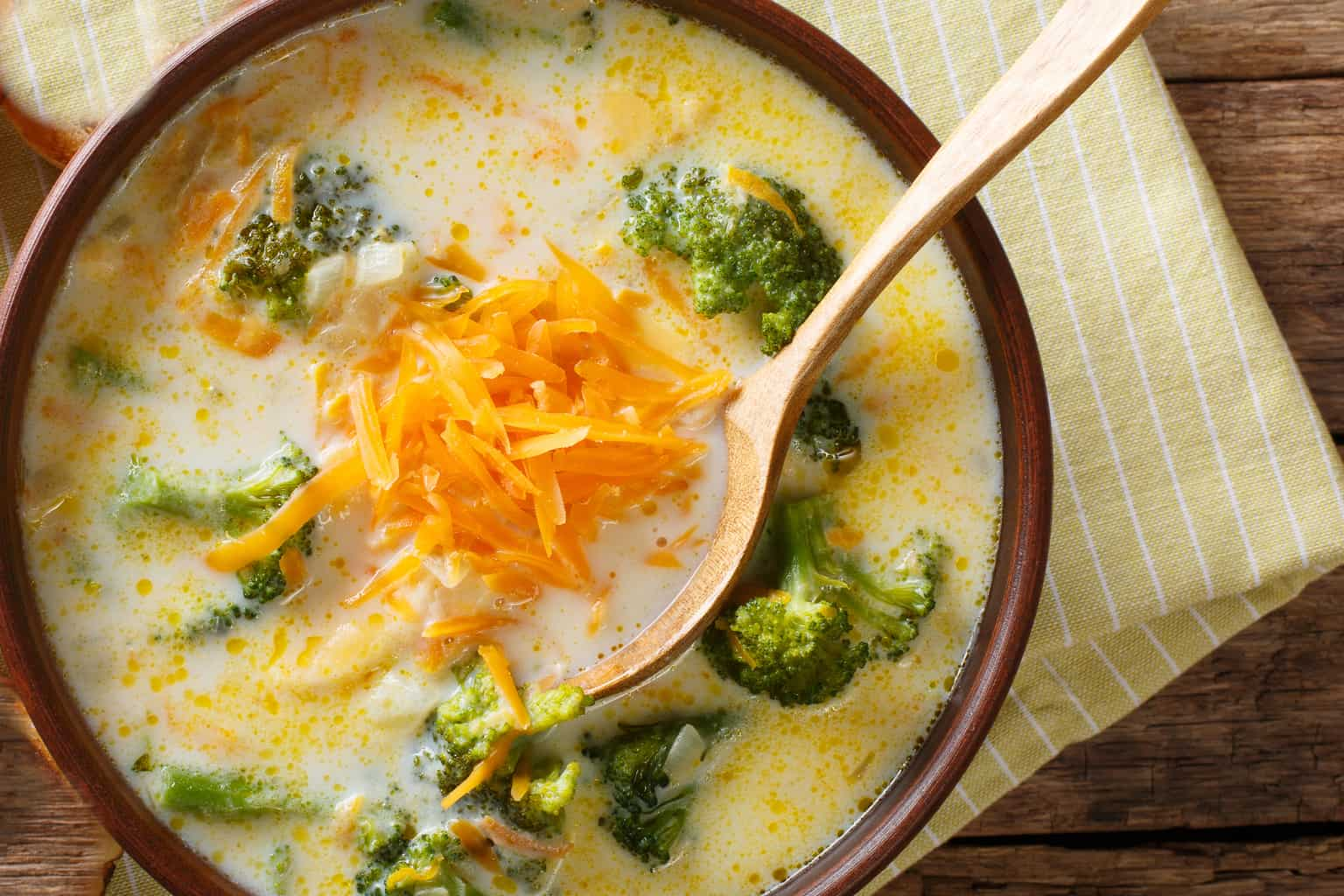 keto broccoli and cheese soup in a bowl