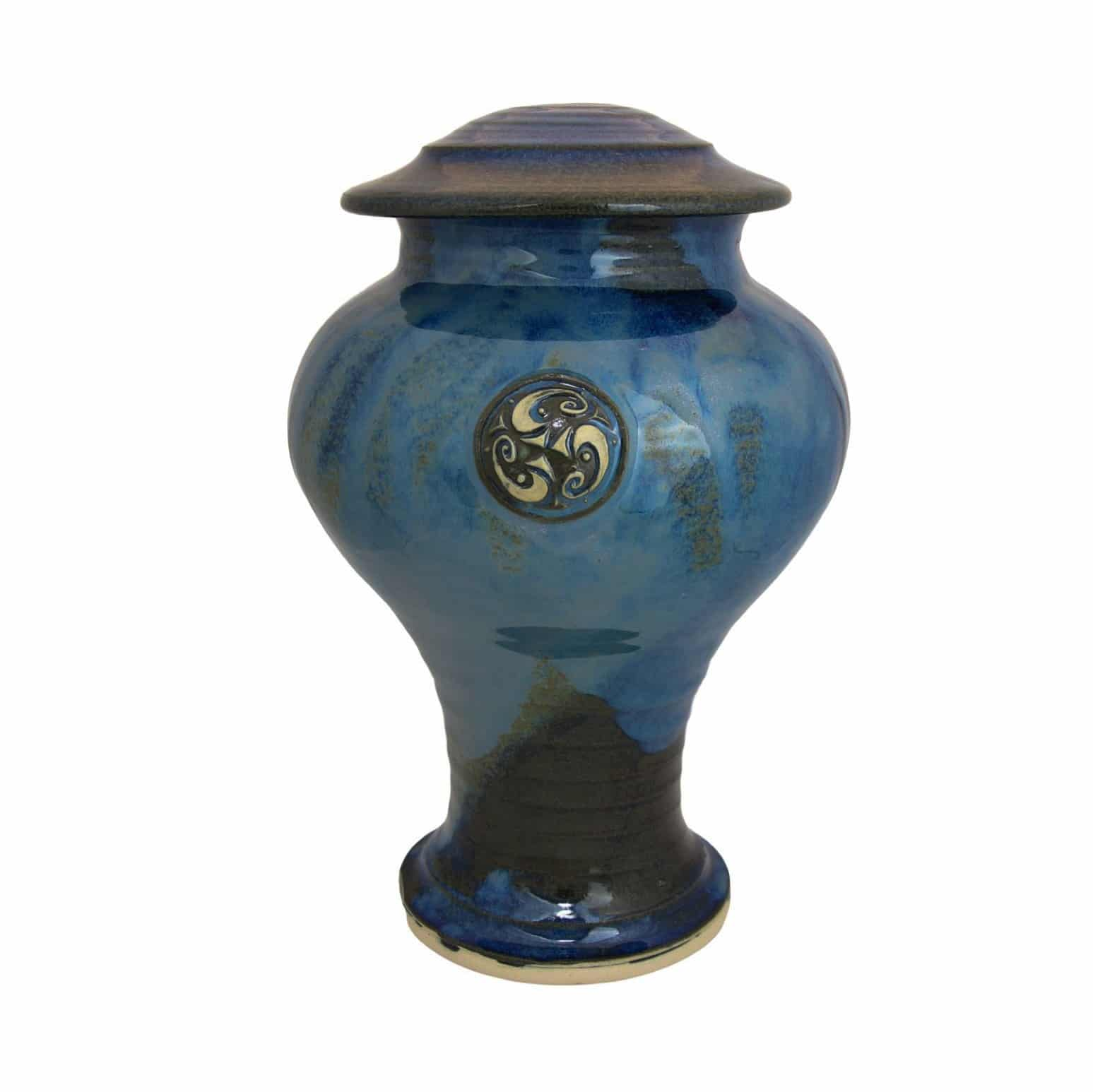 Celtic kelp Irish Cremation Urn in Celtic design blue cobalt and kelp