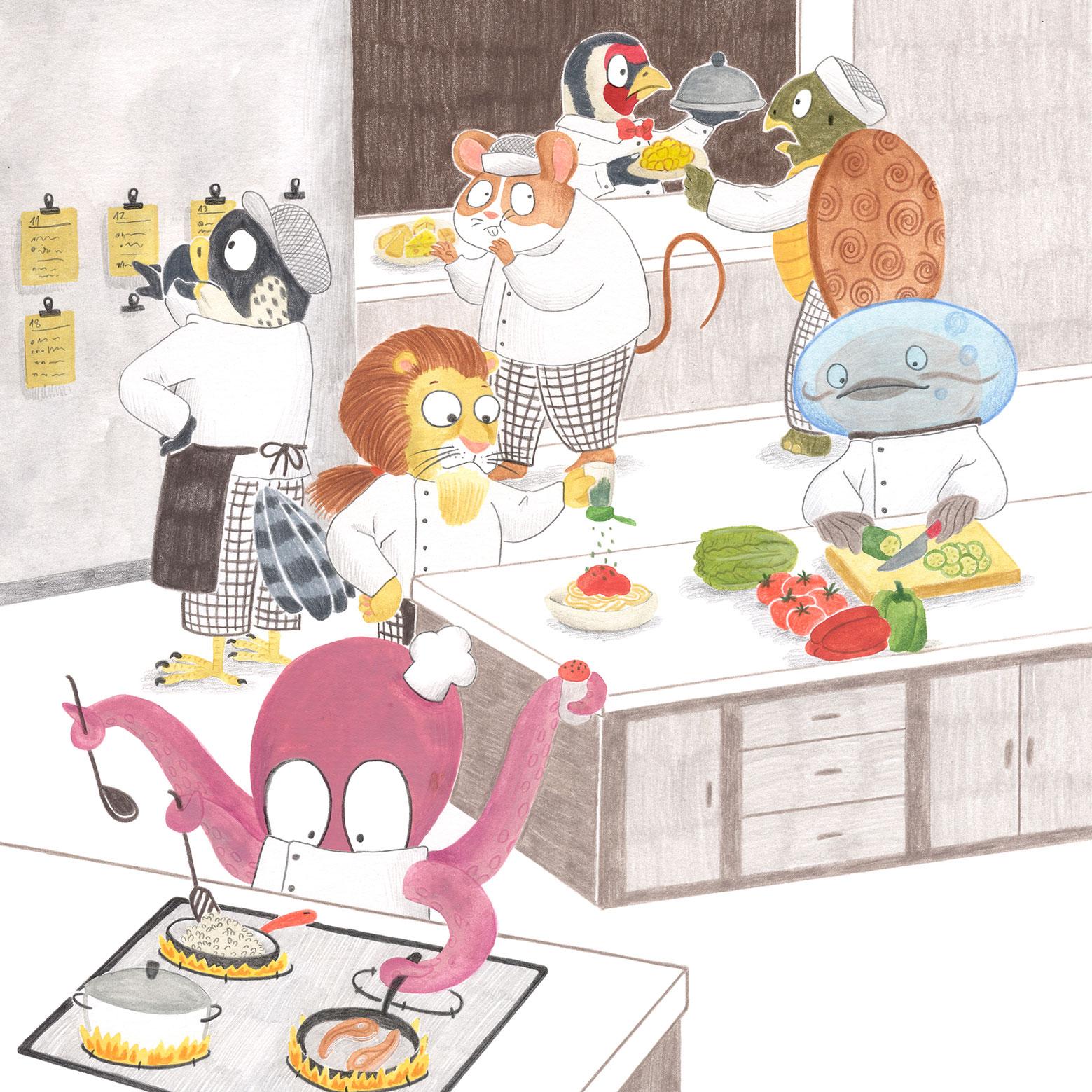 ilustracion infantil, album ilustrado, ilustracion para niños, ilustracion de animales, dibujo para niños, ilustracion de restaurante, Mar Villar, cocina de restaurante,