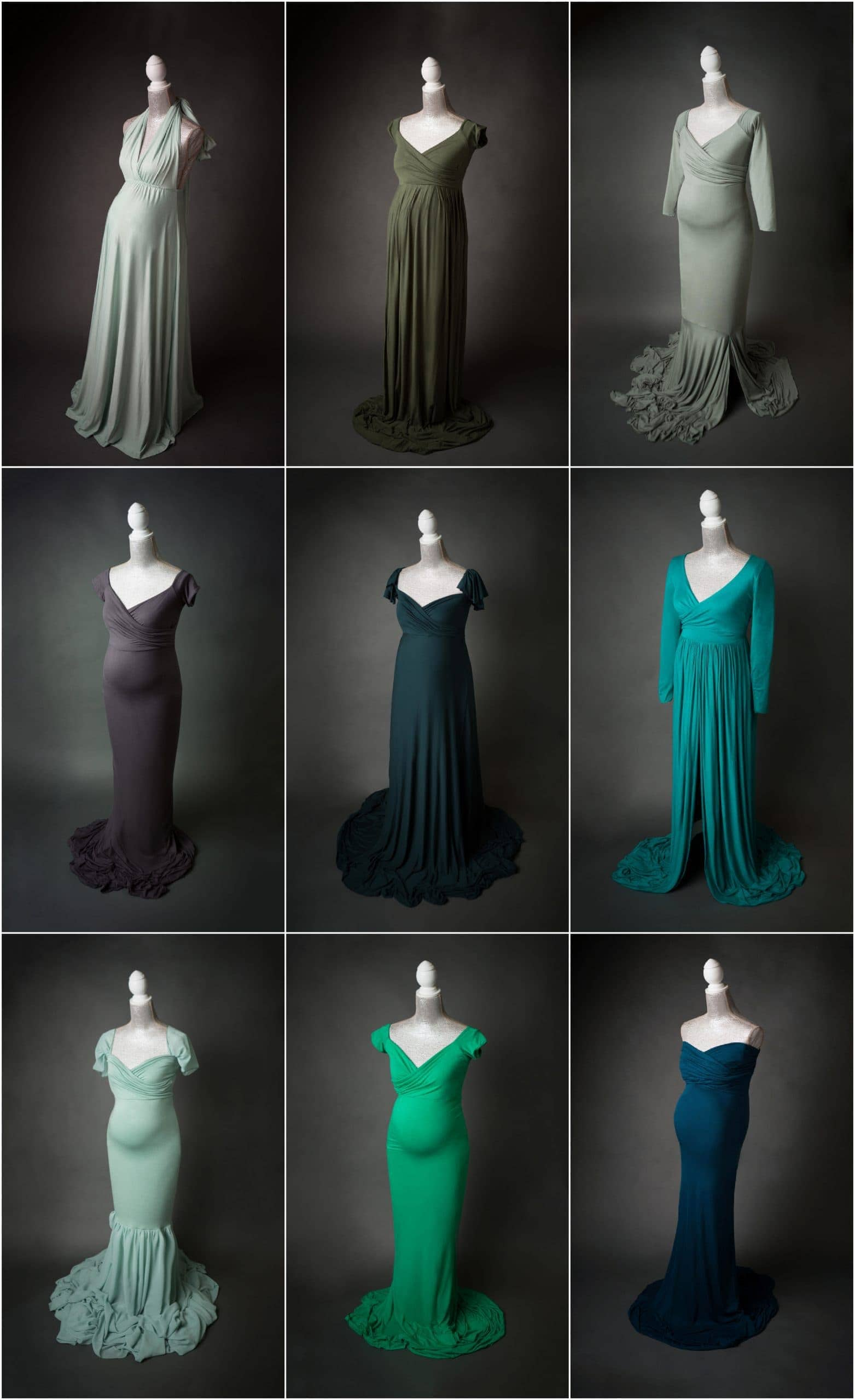 green sage and emerald maternity photo shoot dresses for portraits in san antonio, texas by jenn brookover photography