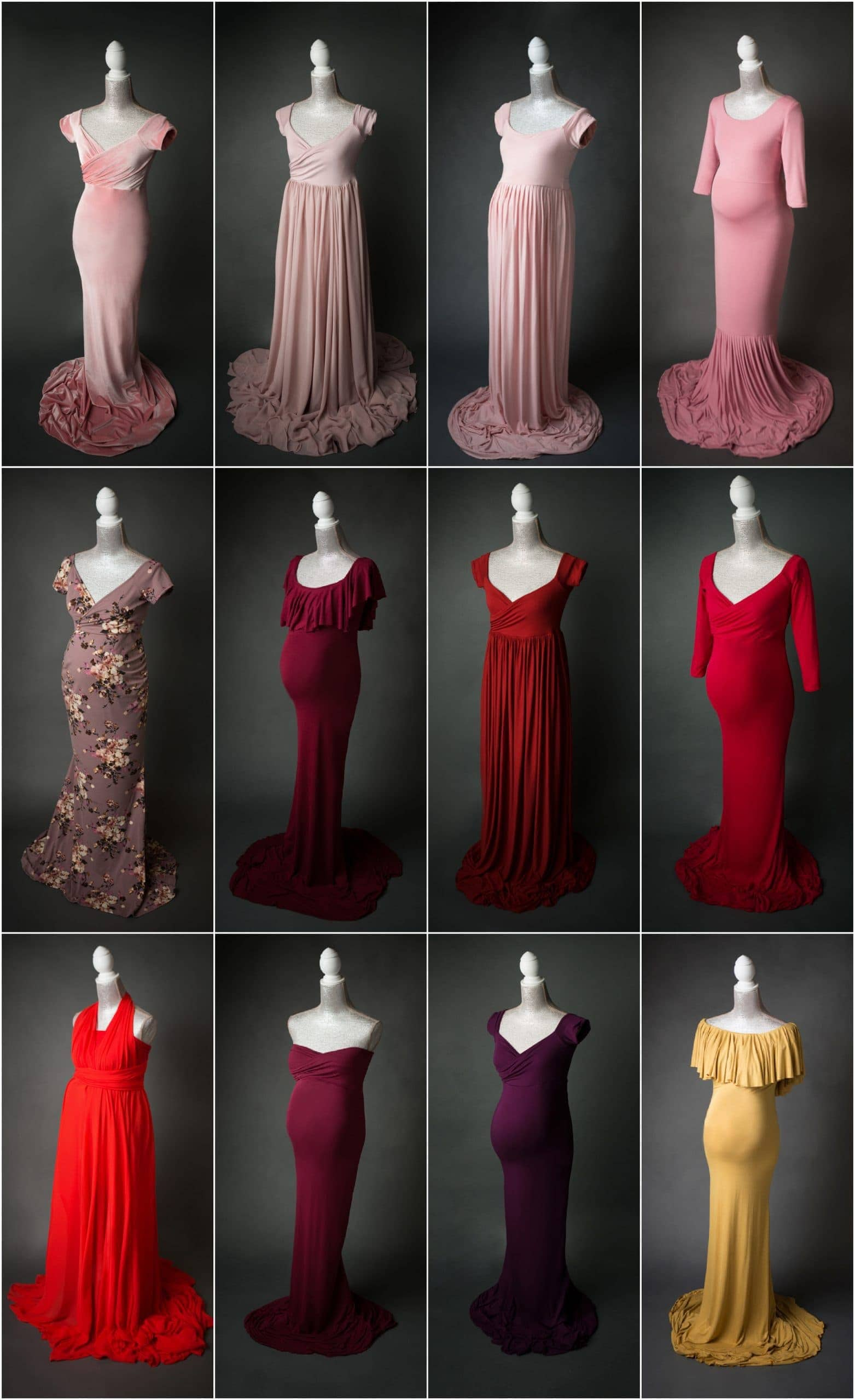 pink red burgandy and gold maternity photo shoot dresses for portraits in san antonio, texas by jenn brookover photography