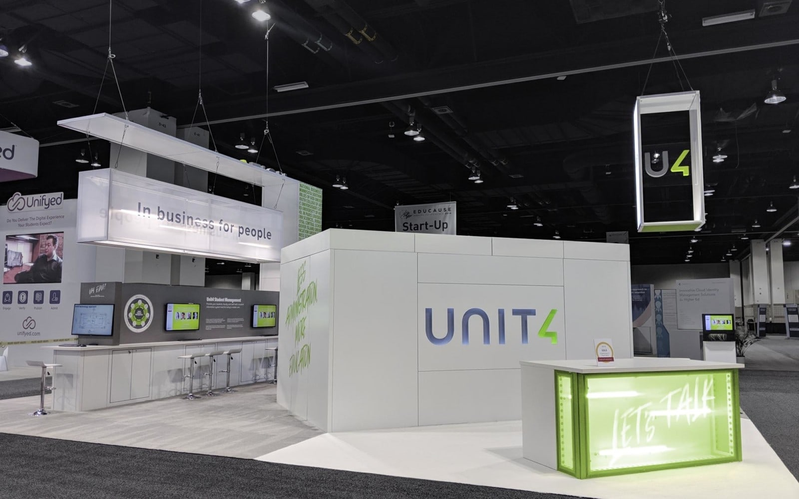 Unit 4 modular booths white and green