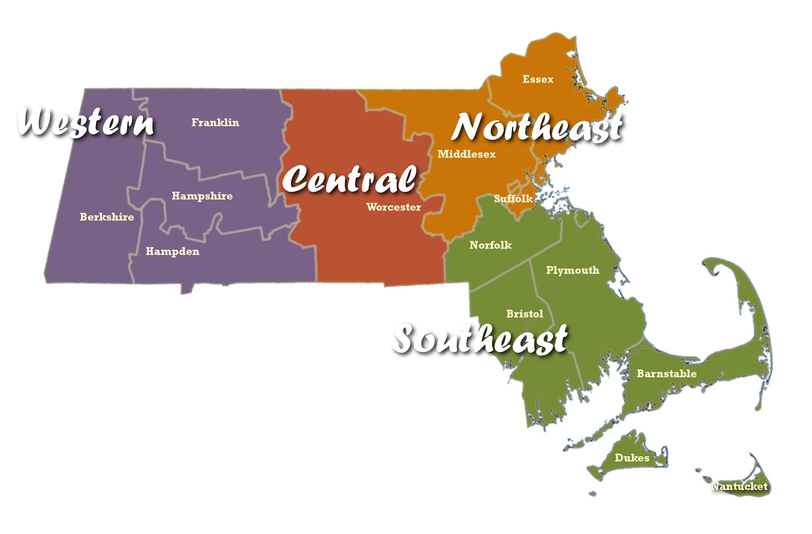 Massachusetts Regions Map