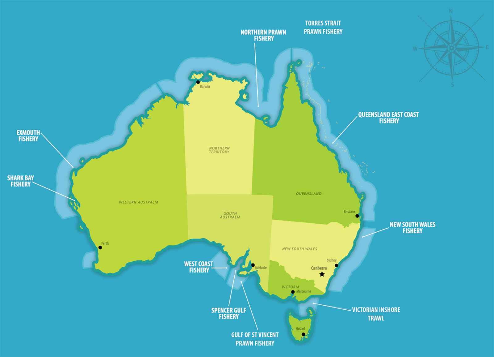 Australian Prawn Fisheries location map