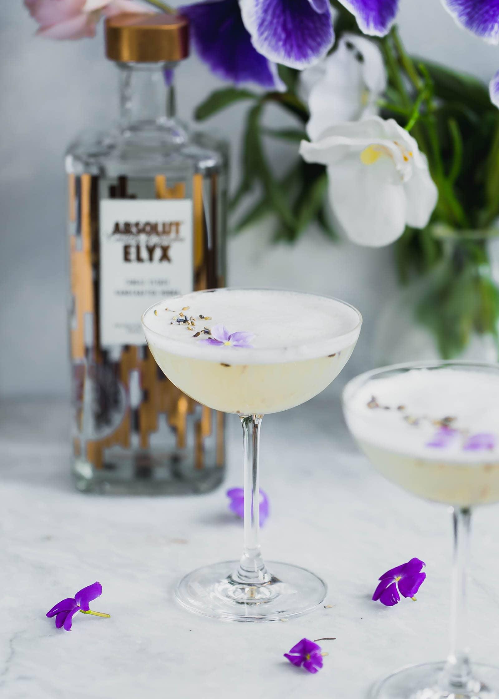 Lavender Coconut Vodka Sours in cocktail glasses