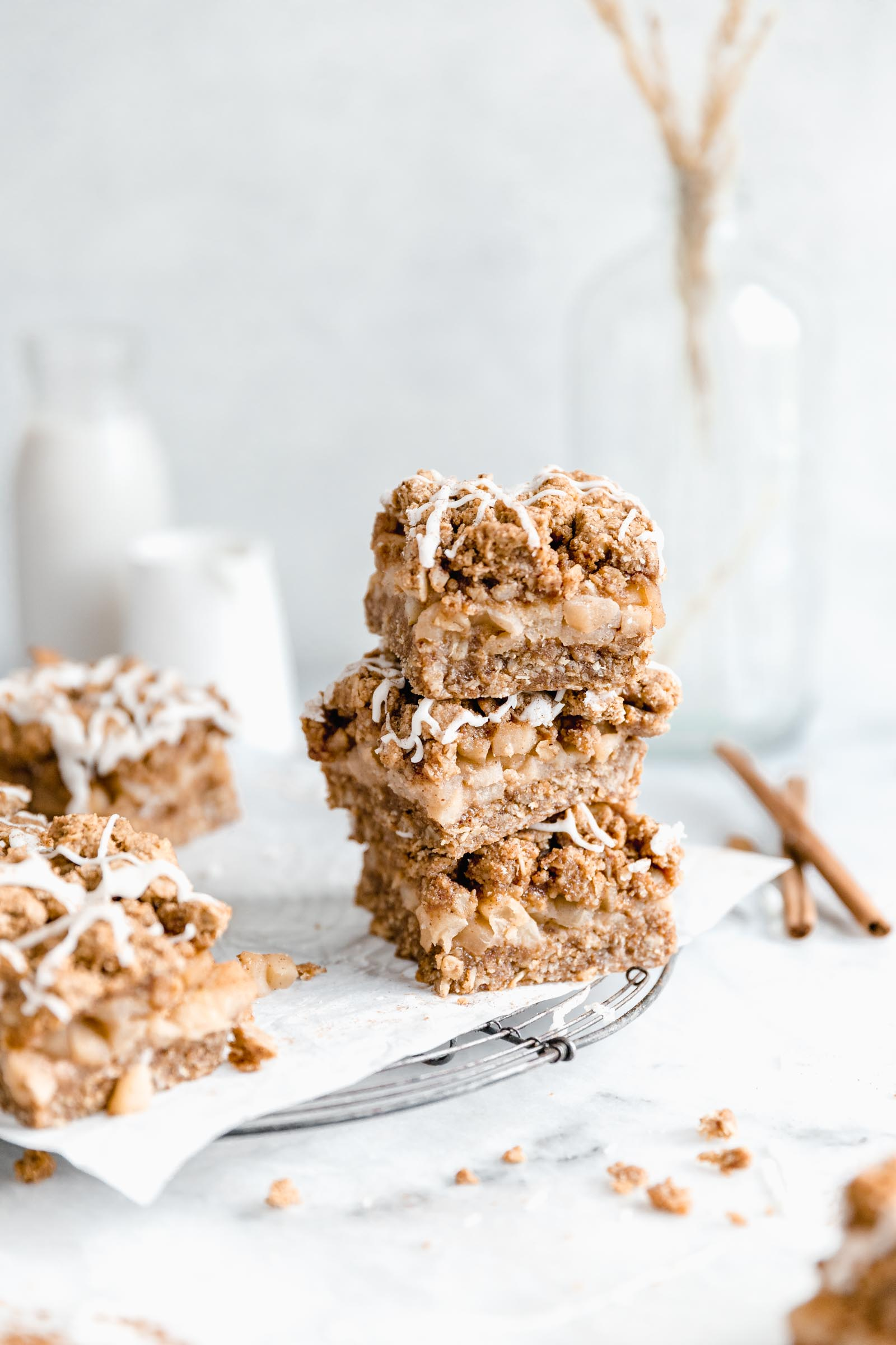 Stack of healthy apple crumble bars