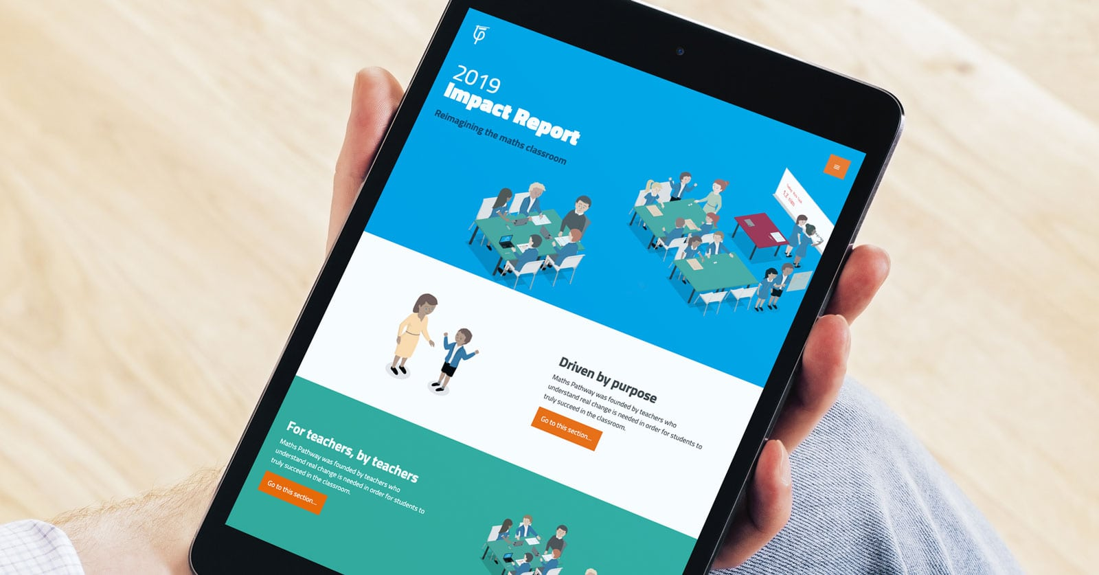 Hand holding ipad with Maths Pathway Impact report