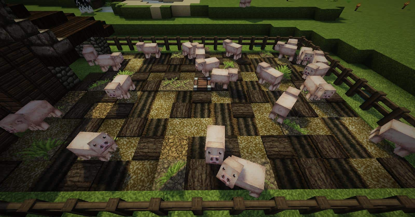 Built with John Smith textures in mind muddy pig pen detail minecraft ideas farm harvest animals cage