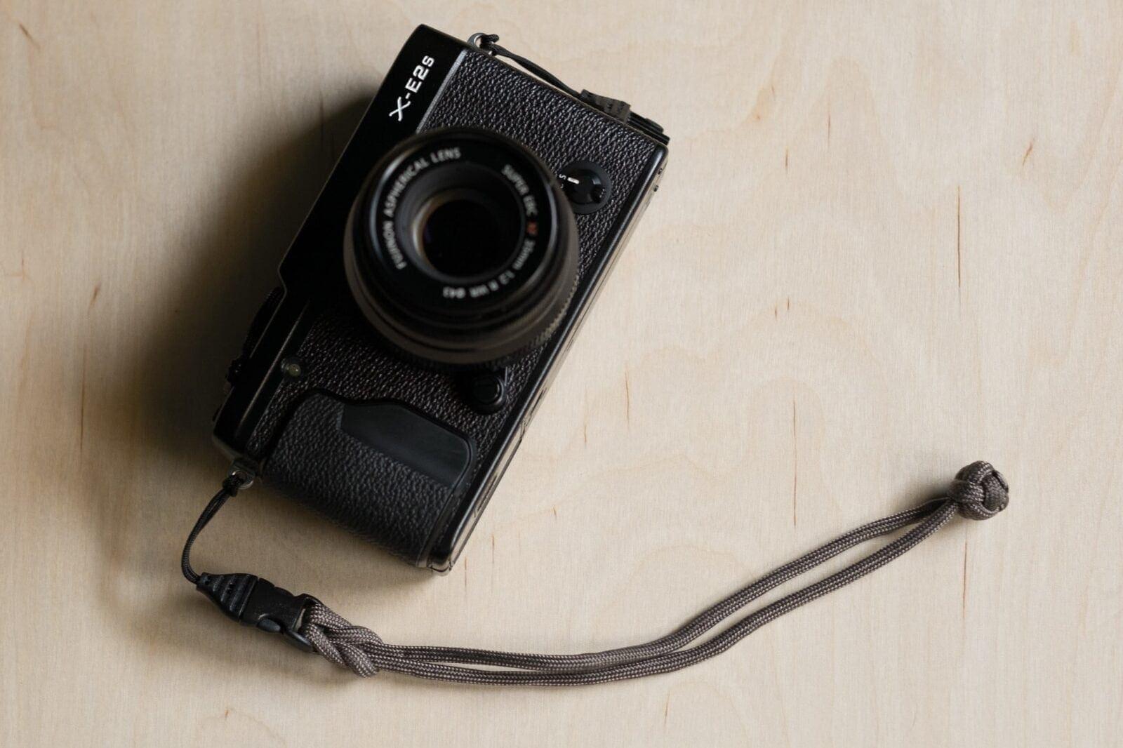 DIY Paracord Camera Wrist Strap attached to Fujifilm X-E2s