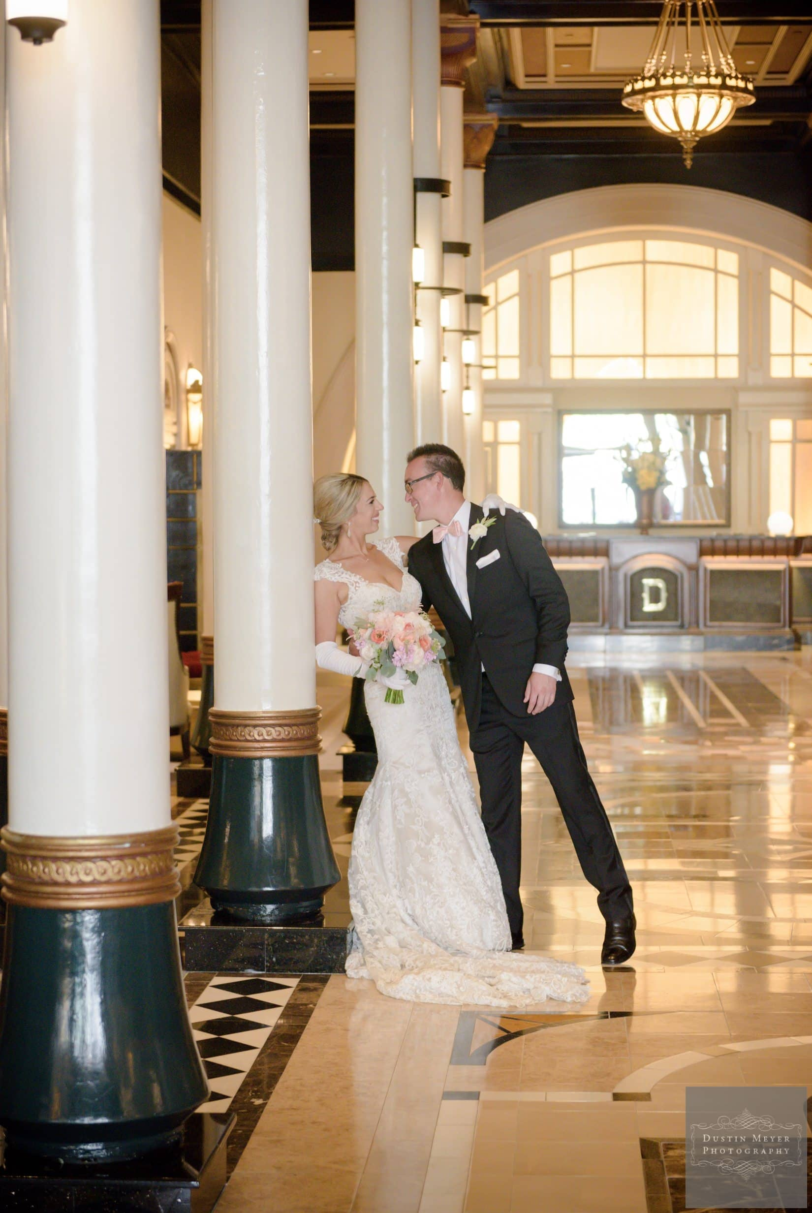 four seasons wedding, first look wedding photos of the bride and groom at the Driskill Hotel