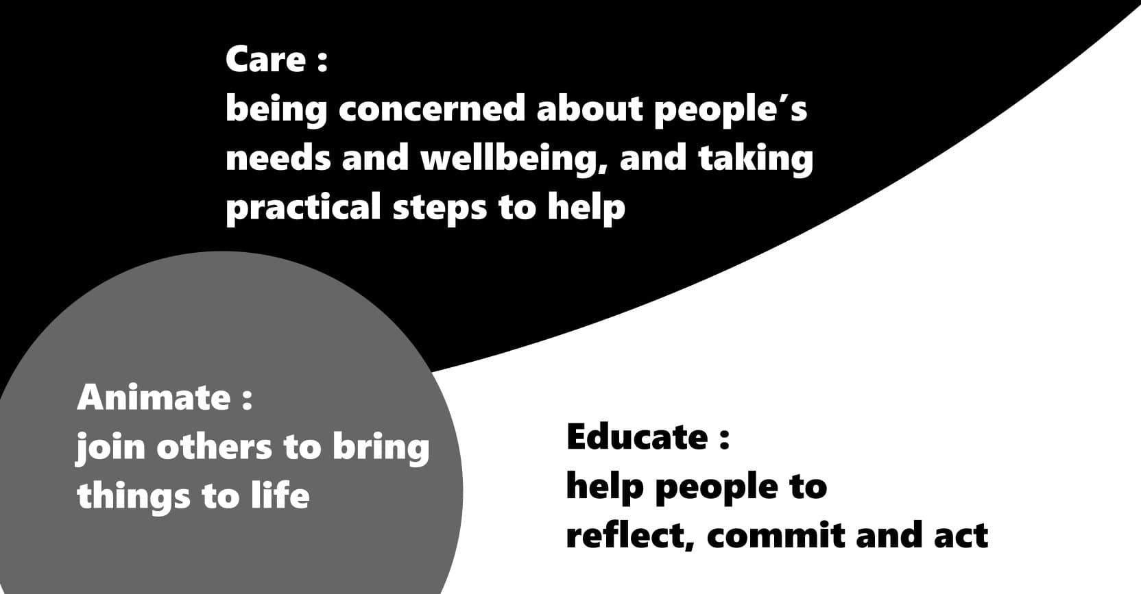 ACE - animate, care, educate. Taken from Mark K Smith (2016) Working with young people in difficult times. Chapter 1.