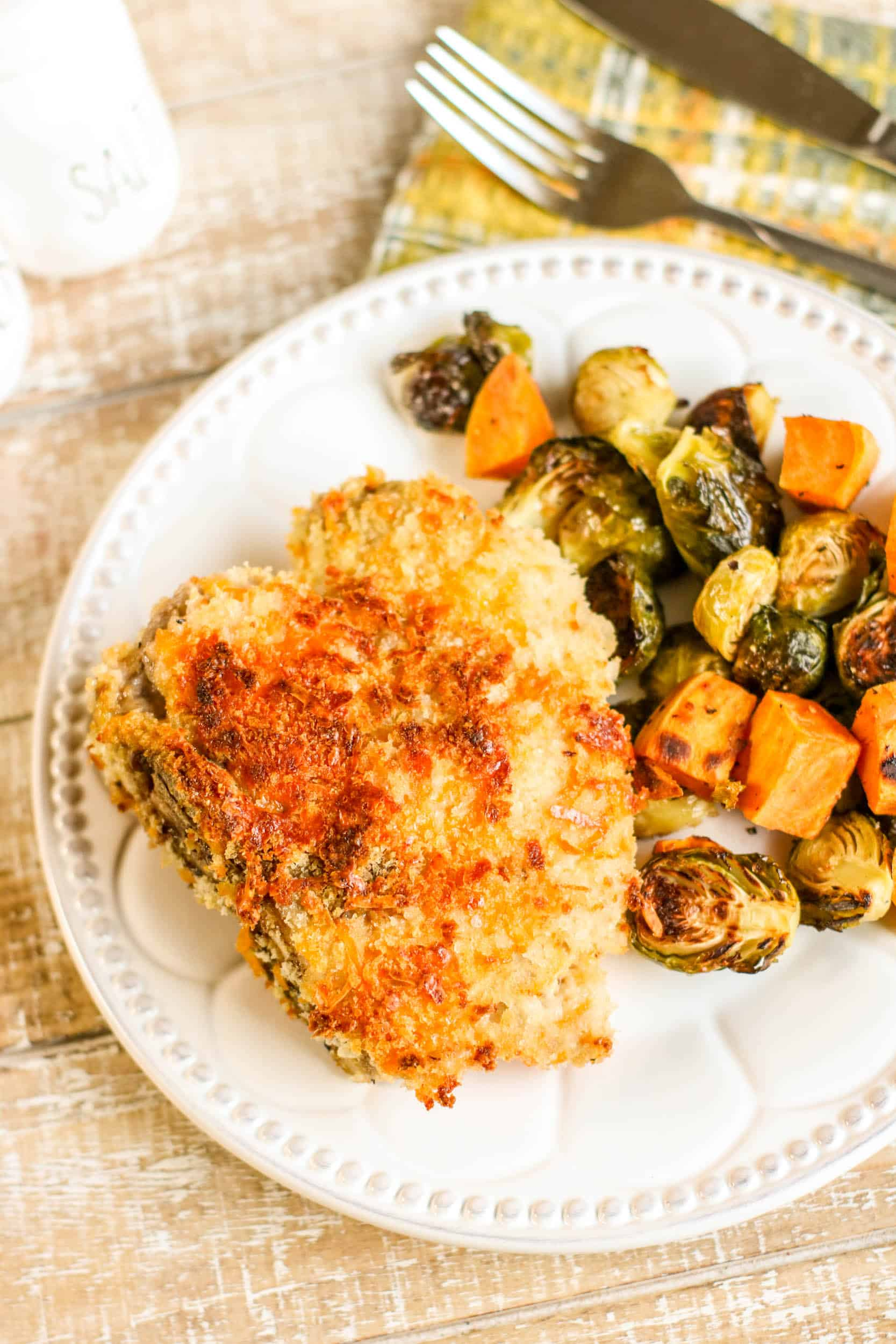 Crispy Cheddar Pork Chops Sheetpan Dinner Sample 4-2
