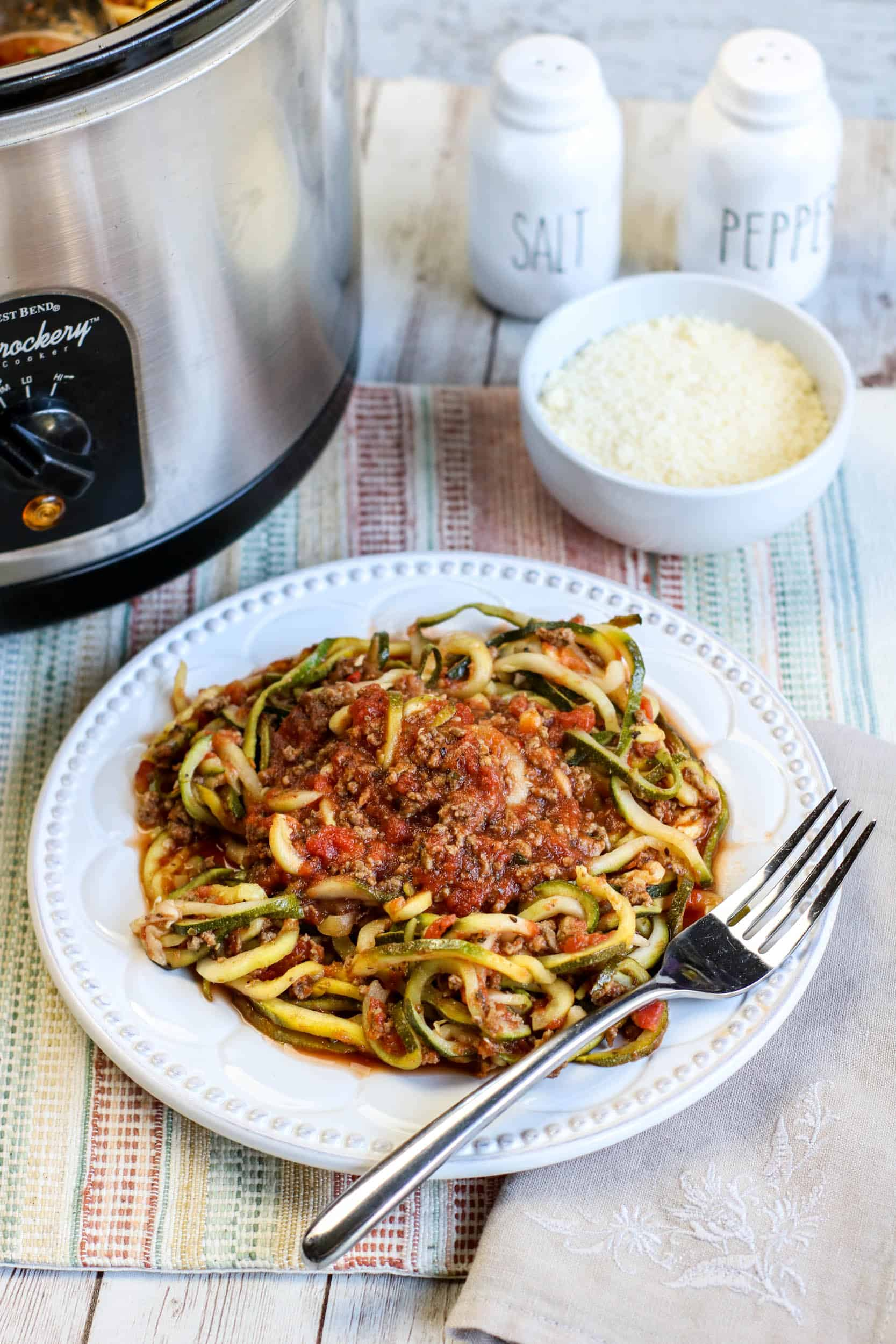 plated with slow cooker and salt and pepper shakers