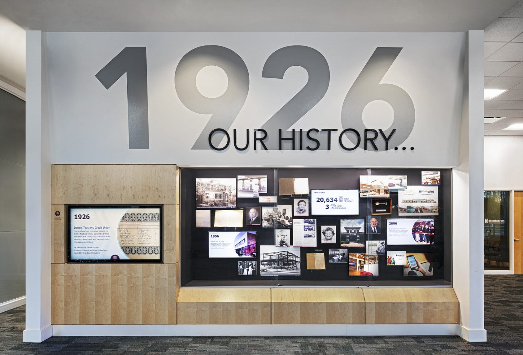 Michigan First Credit Union history wall