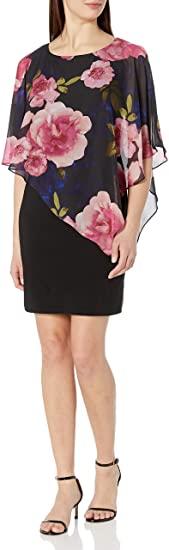 S.L. Fashions asymmetric chiffon overlay dress | 40plusstyle.com