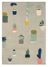 beżowo zielony dywan w kwiaty Cactus 56201