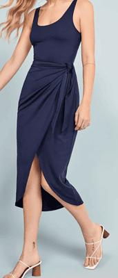 navy wrap dress