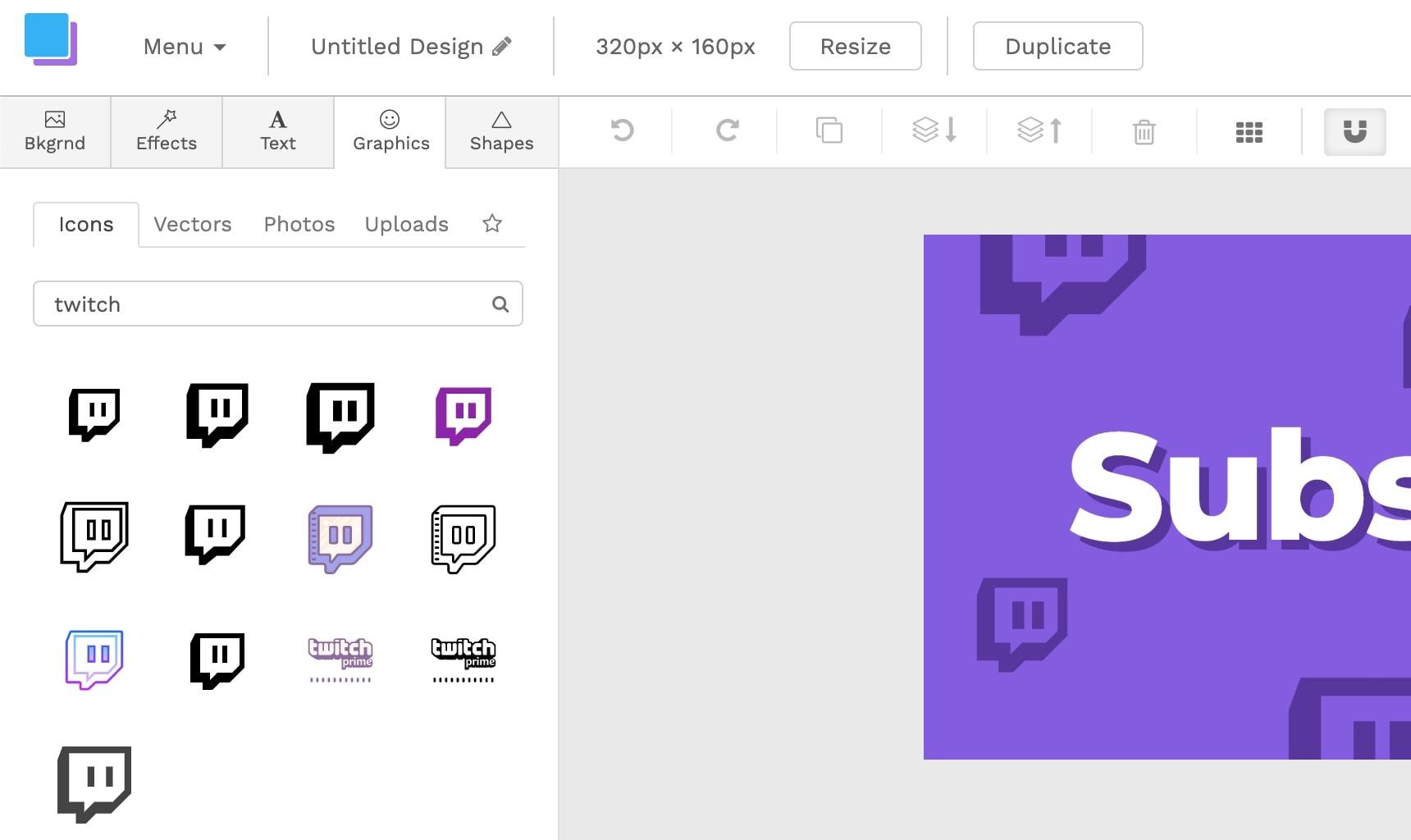 Twitch panel icons
