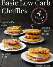 Side photo of four different Chaffles with titles by themerchantbaker.com