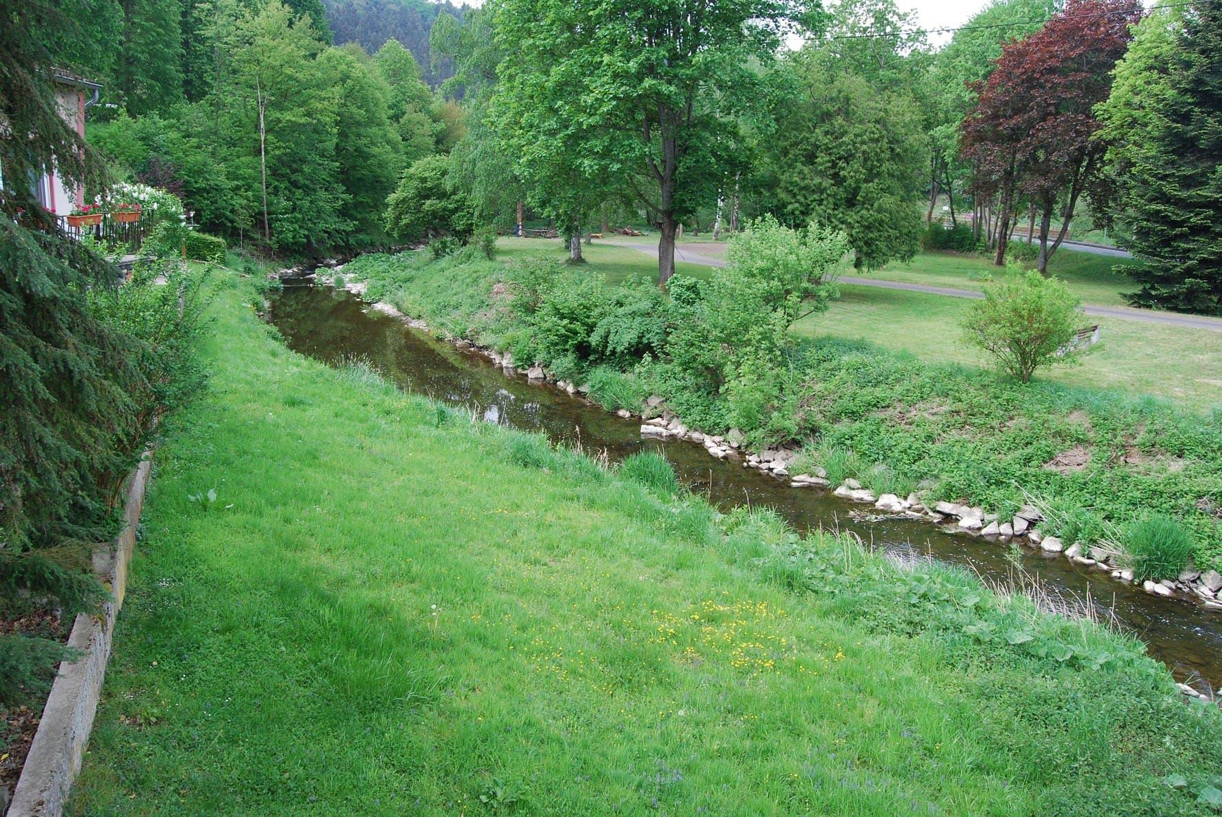 Vor der Baumaßnahme war der Trierbach verbaut und eingeengt