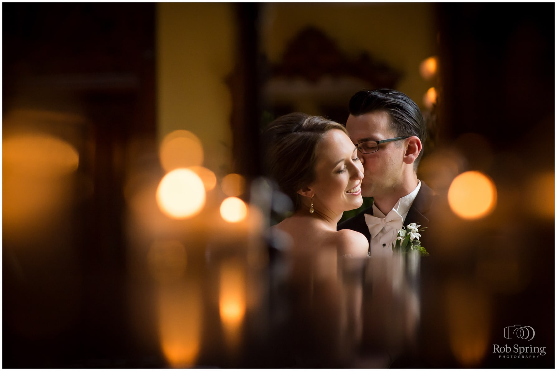 bride and groom photo with candles, bokeh, reflection, Saratoga Springs, NY Wedding photos